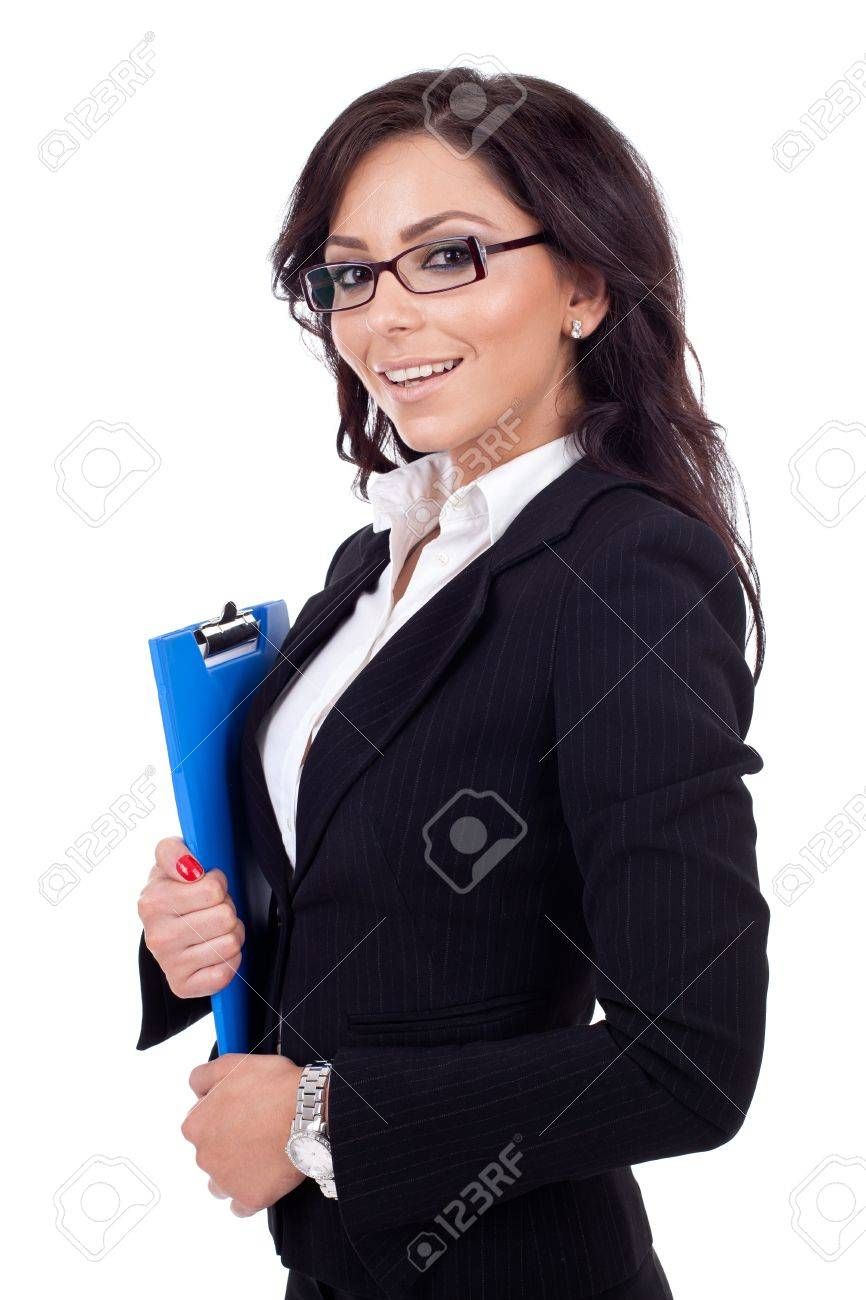 Portrait of a young confident business woman holding a clipboard Stock Photo - 9971974