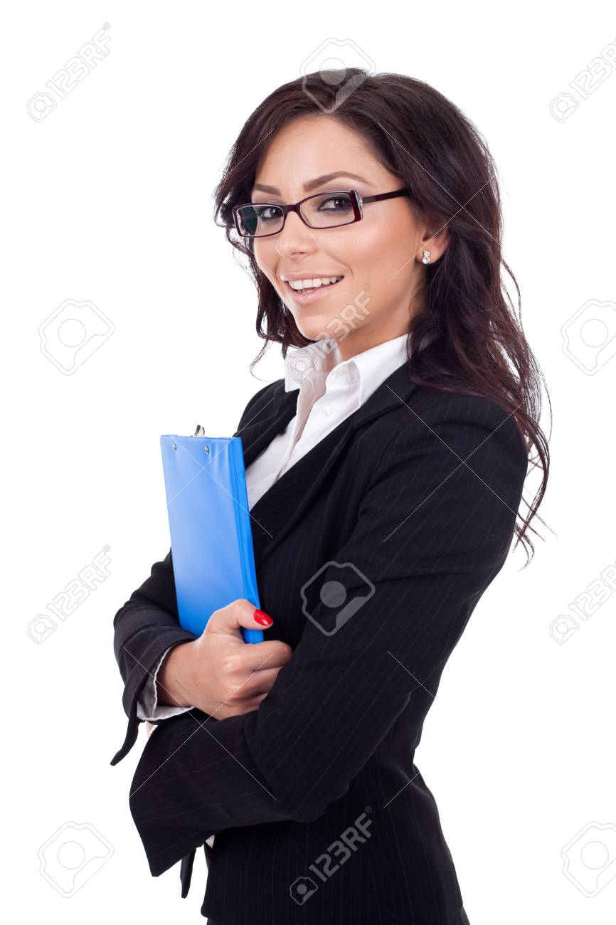 Portrait of a young confident business woman holding a clipboard Stock Photo - 9971954
