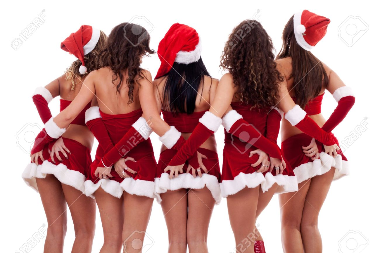 group of sexy young santa women grabbing their asses on white background Stock Photo - 10933653