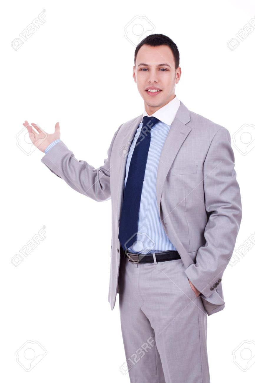 Happy Young Business Man Inviting You Over A White Background Stock
