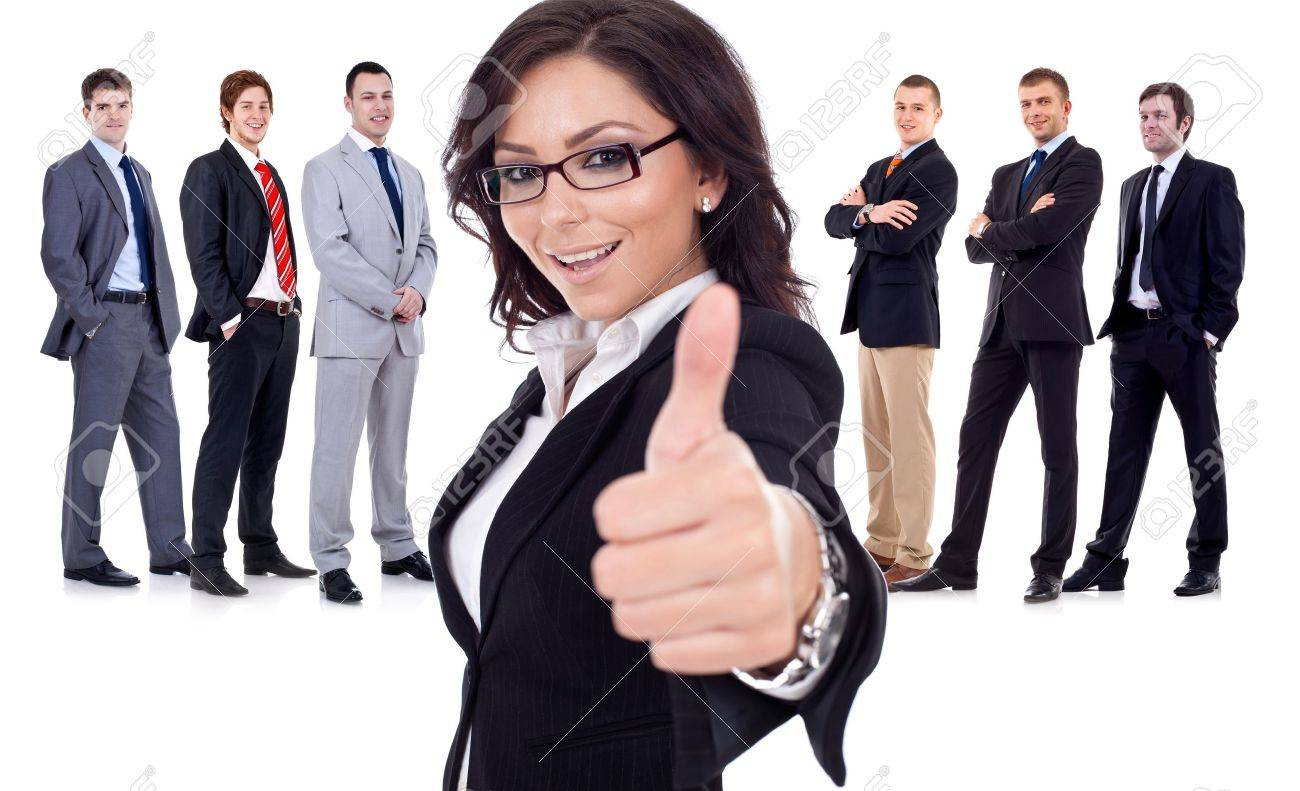 Successfull business woman givinng thumbs up for his team Stock Photo - 10933826
