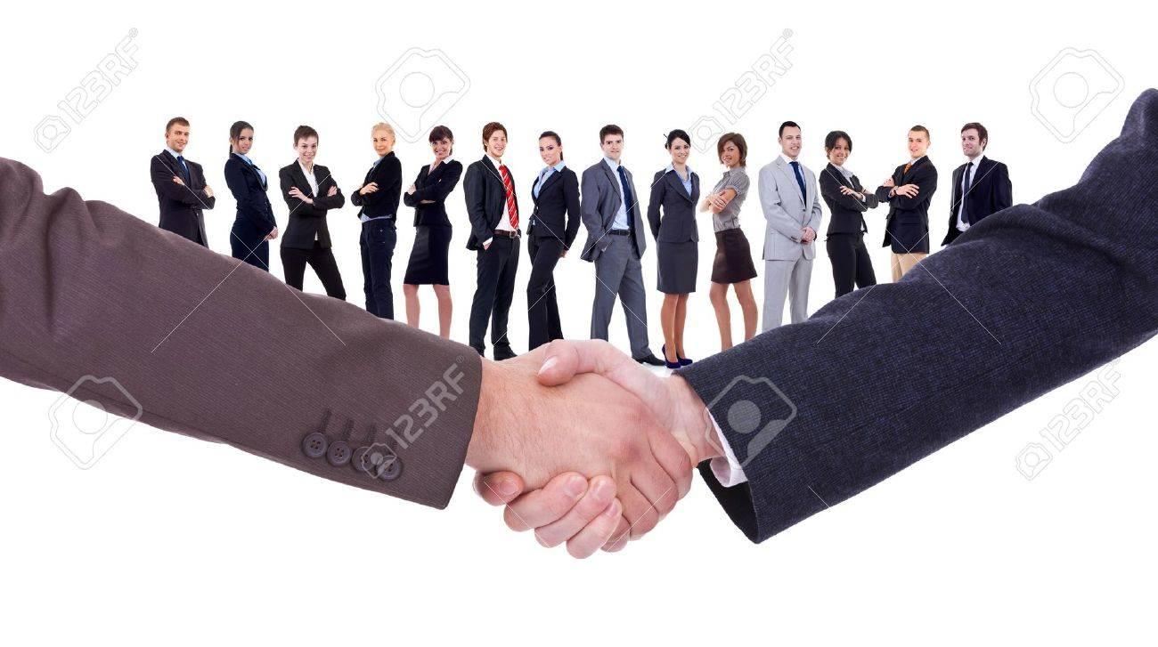 handshakeof two businessmen isolated on business background - 11188310