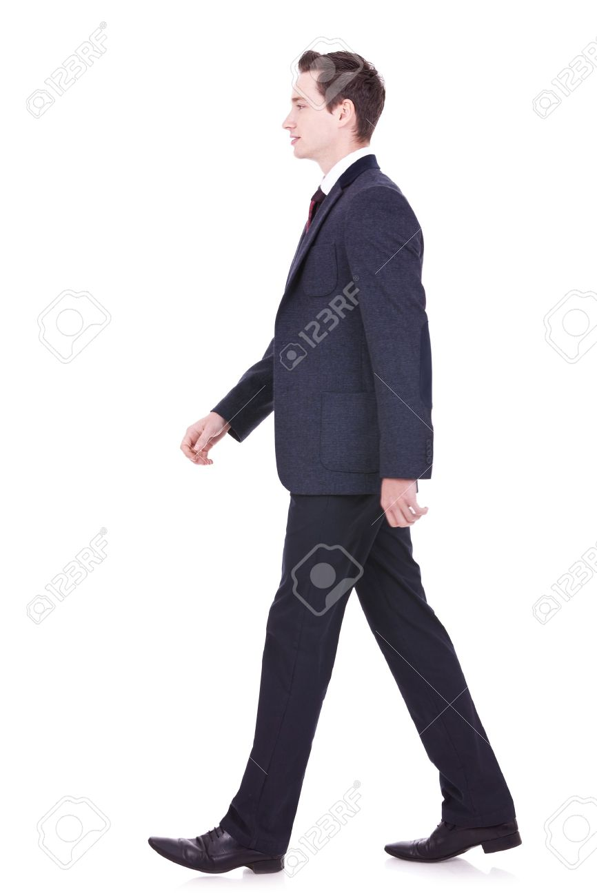 picture of a young business man walking forward - side view Stock Photo - 11890856