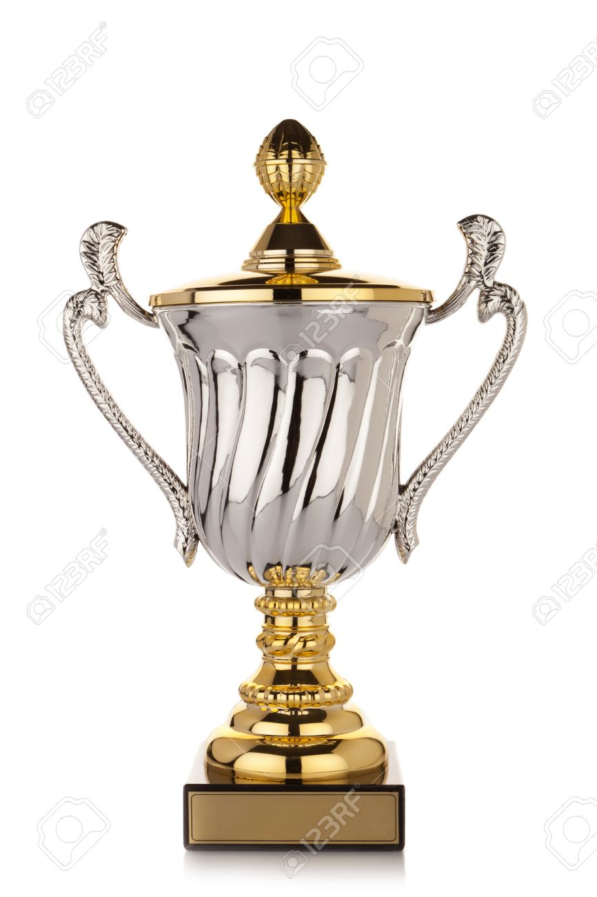 Golden And Silver Trophy Award With Small Copy Space Tag At The Bottom Gold