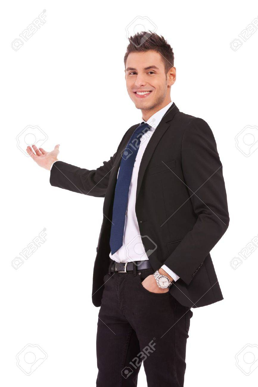 Happy business man presenting and showing with copy space for your text isolated on white background Stock Photo - 13310766