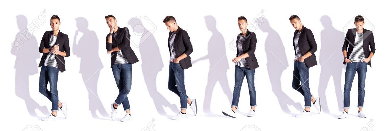 Wonderful Collage Of Six Poses Of A Young Casual Fashion Man On White  MI62