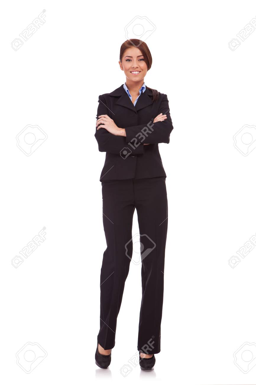 Full body portrait of business woman with crossed arms, isolated on white Stock Photo - 13986435