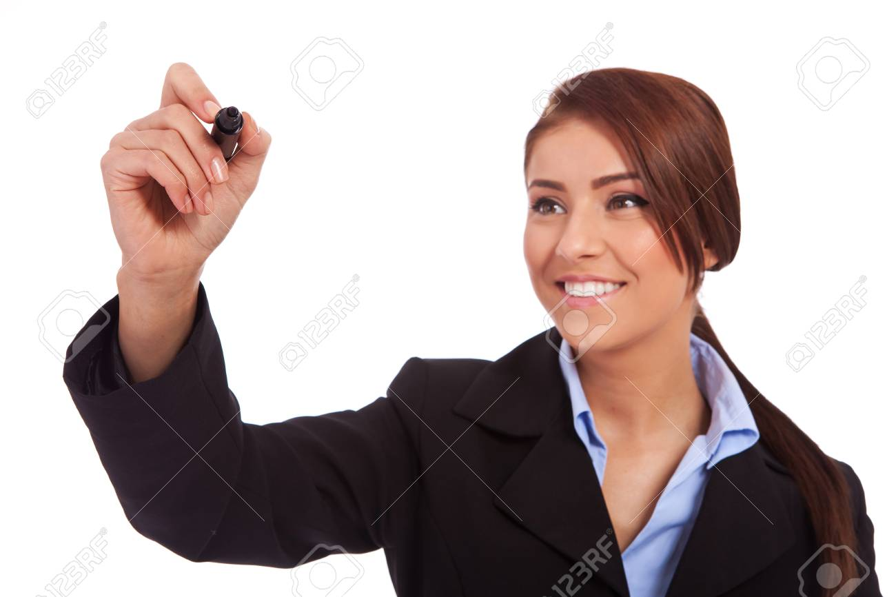 Business woman writing something with a black marker - closeup picture Stock Photo - 13986557