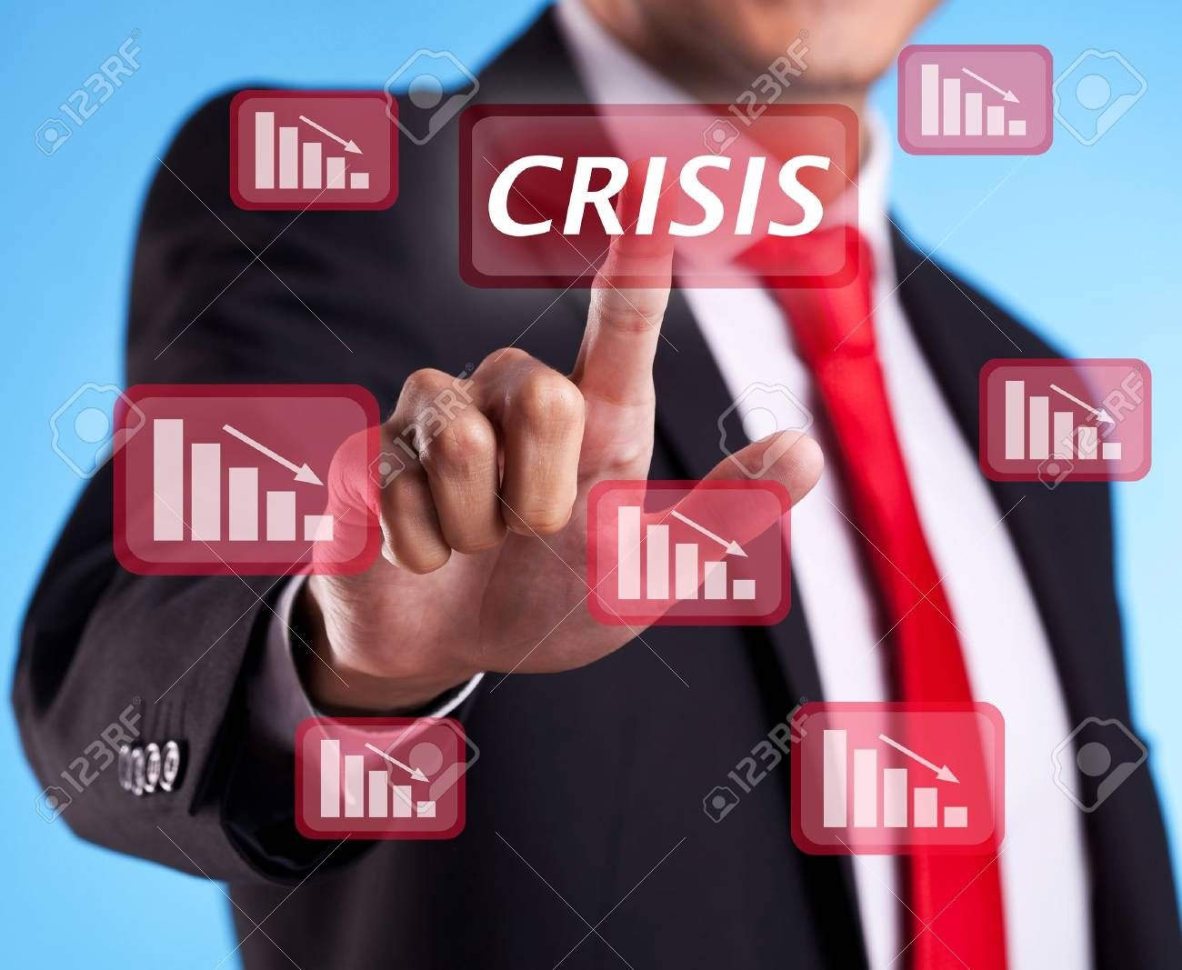 young business man pressing a crisis button on a touch screen Stock Photo - 13986526
