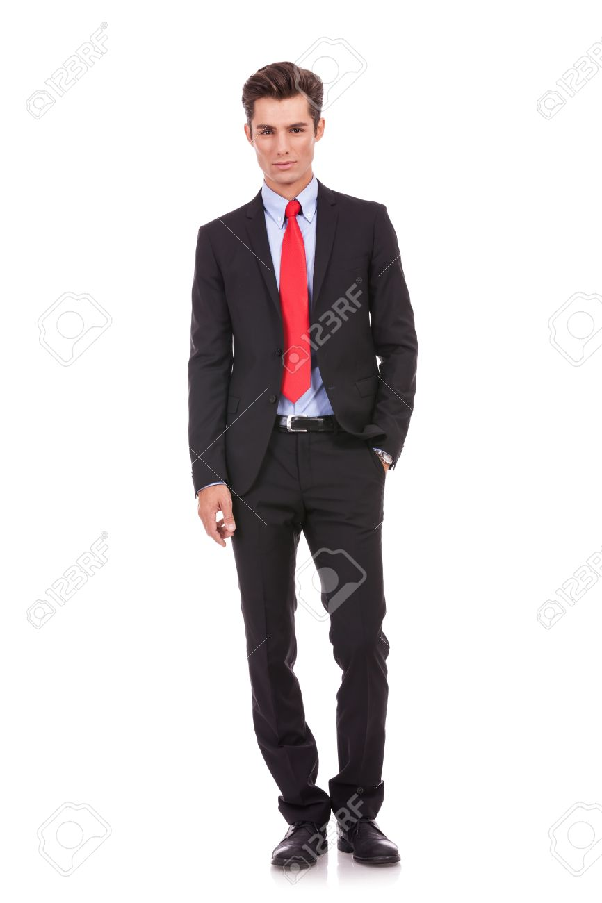 Confident modern business man with hand in pocket isolated on white Stock Photo - 15719666