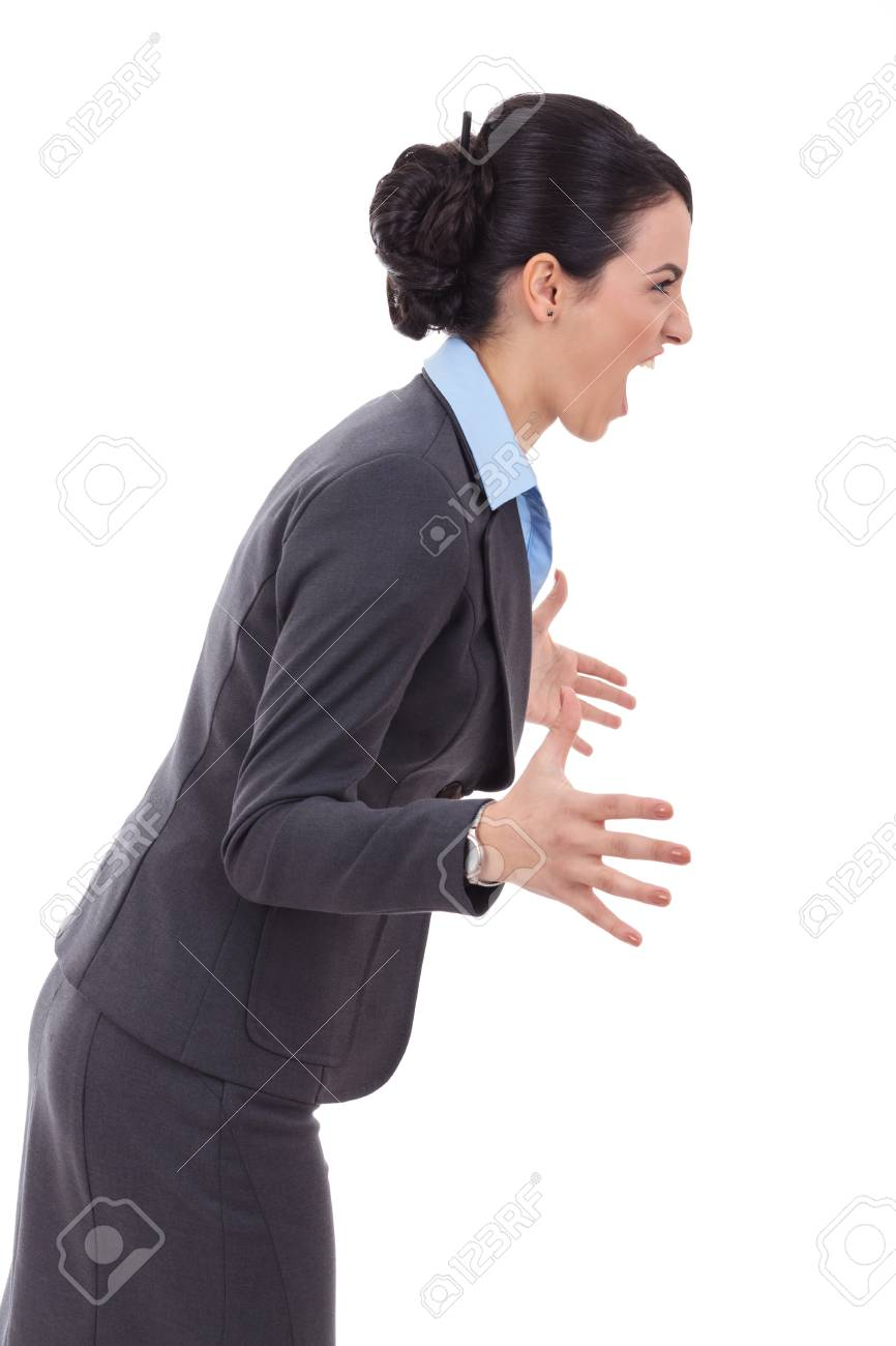 portrait of an angry business woman screaming to a side, isolated over a white background Stock Photo - 17449793