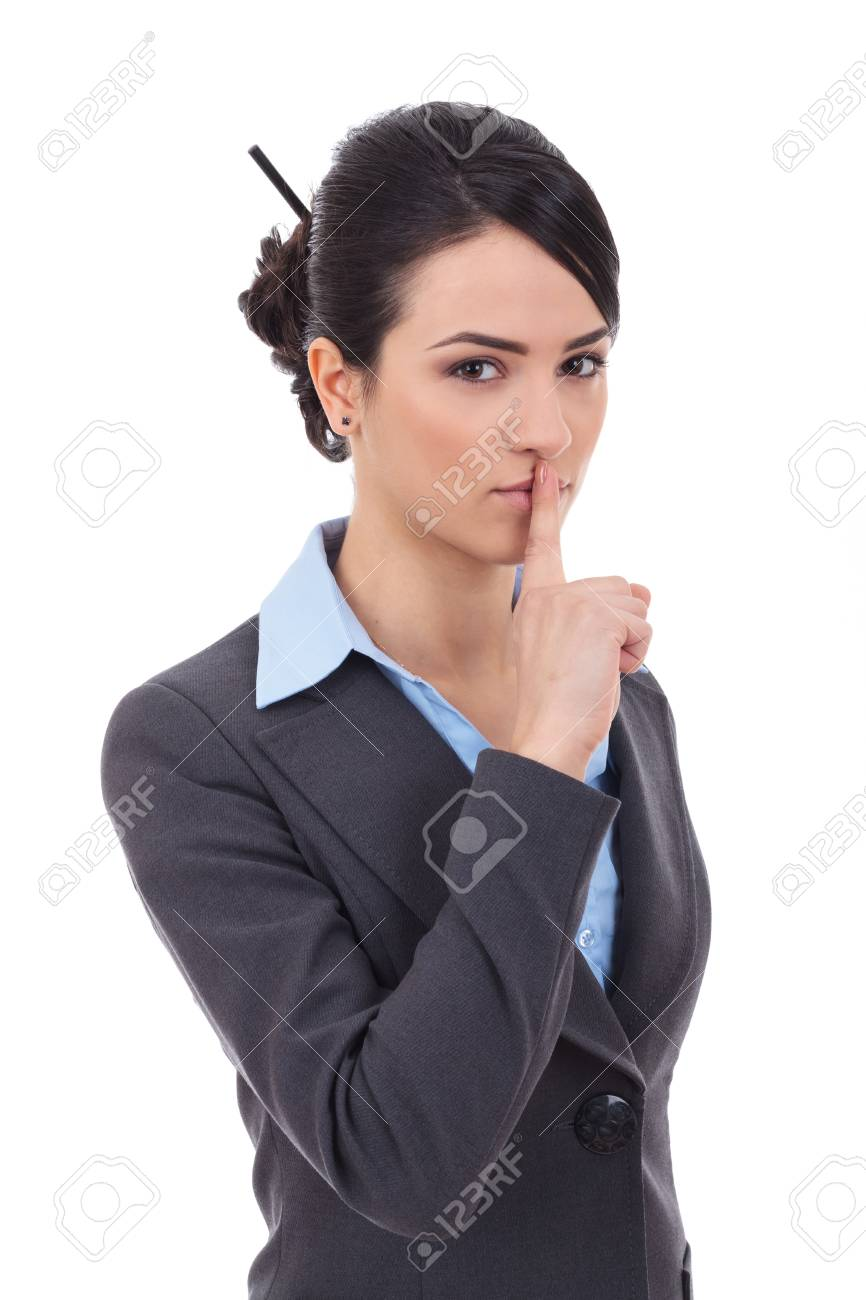 pretty woman making silence sign over grey background Stock Photo - 17449730