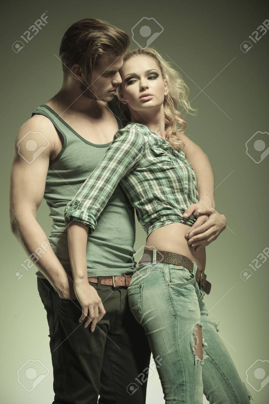 in love fashion couple in an embraced pose Stock Photo - 23219434