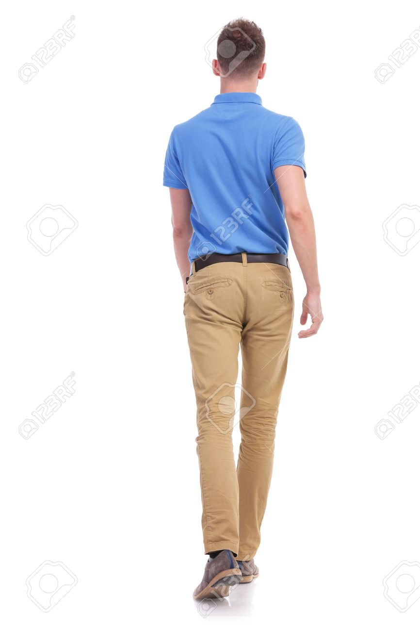 Full Length Back View Portrait Of A Young Casual Man Walking ...