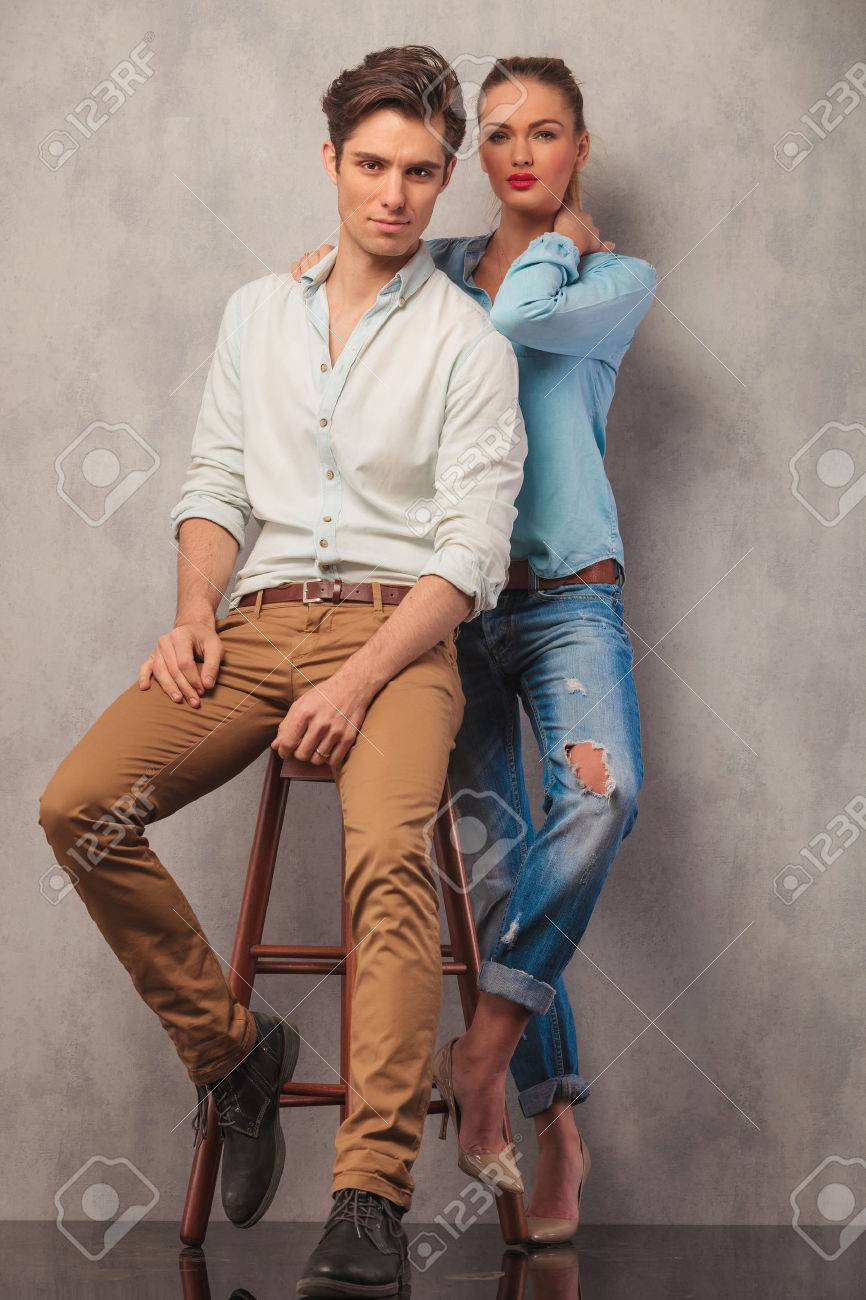 Couple Posing In Studio Background Looking At The Camera Him Stock Photo Picture And Royalty Free Image Image 51507865