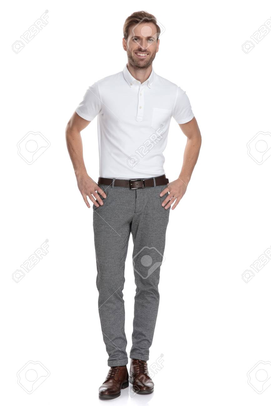 Happy Young Smart Casual Man With Hands