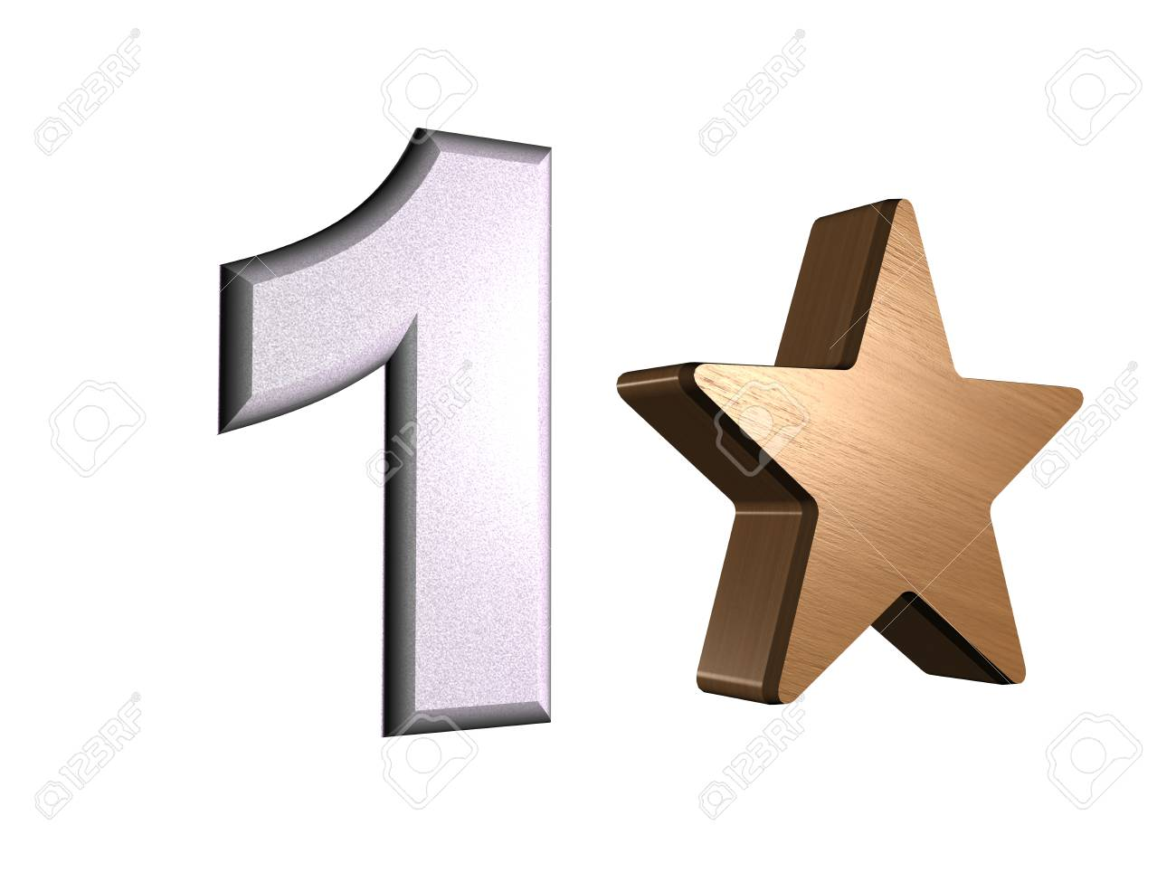 rate star number 1 3d Stock Photo - 24920943