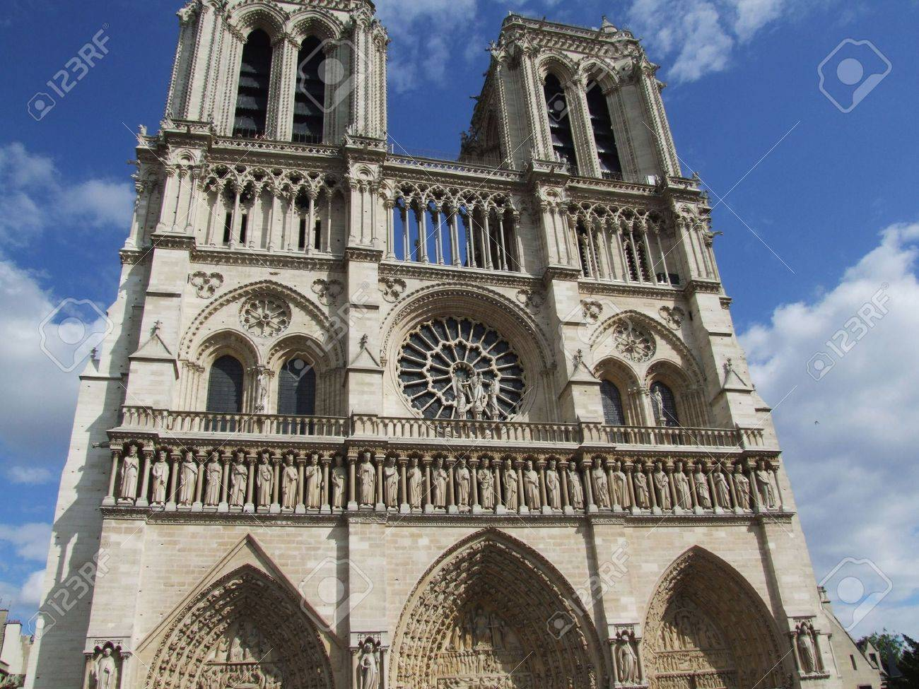 Notre Dame Cathedral facade in Paris (France) Stock Photo - 3920295