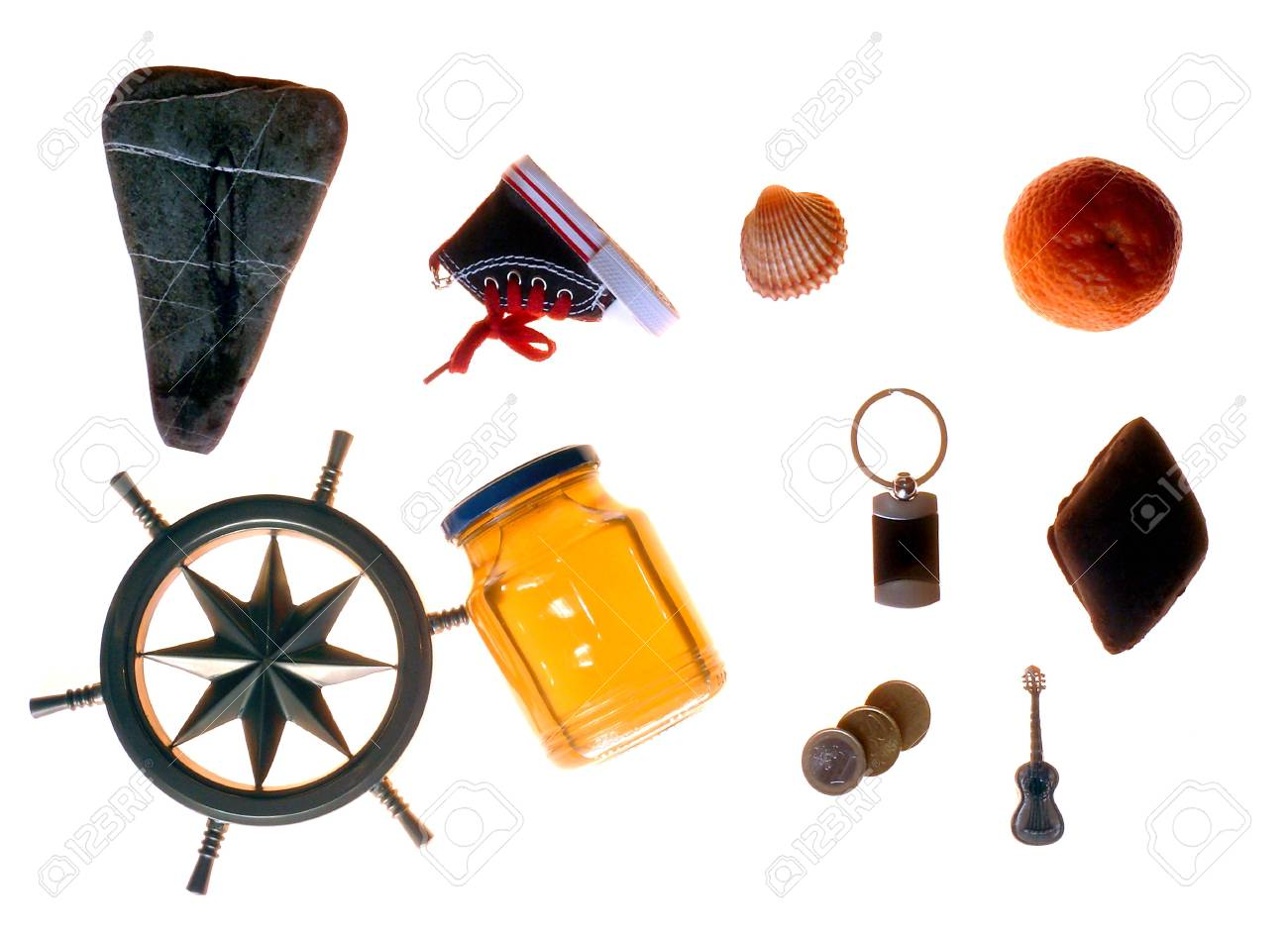 Fanciful close-up of various objects isolated on white background Stock Photo - 4278311