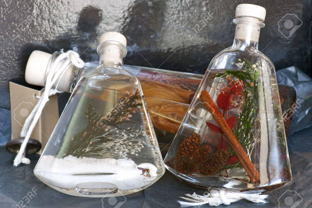Ornamental bottles - Stock Photo Three Ornamental Bottles With Perfumed Fluid