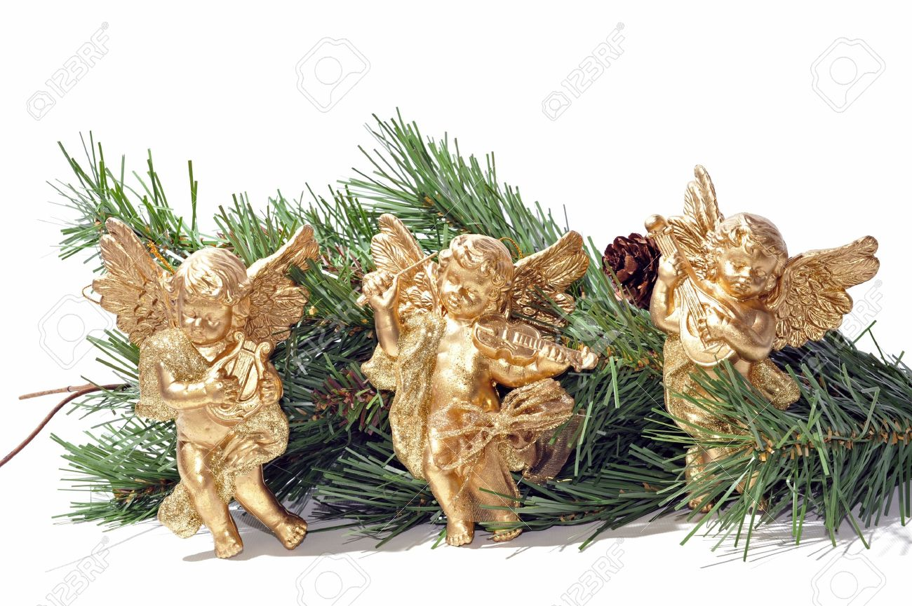 Three golden angels as decorations for the Christmas garland Stock Photo - 6251399