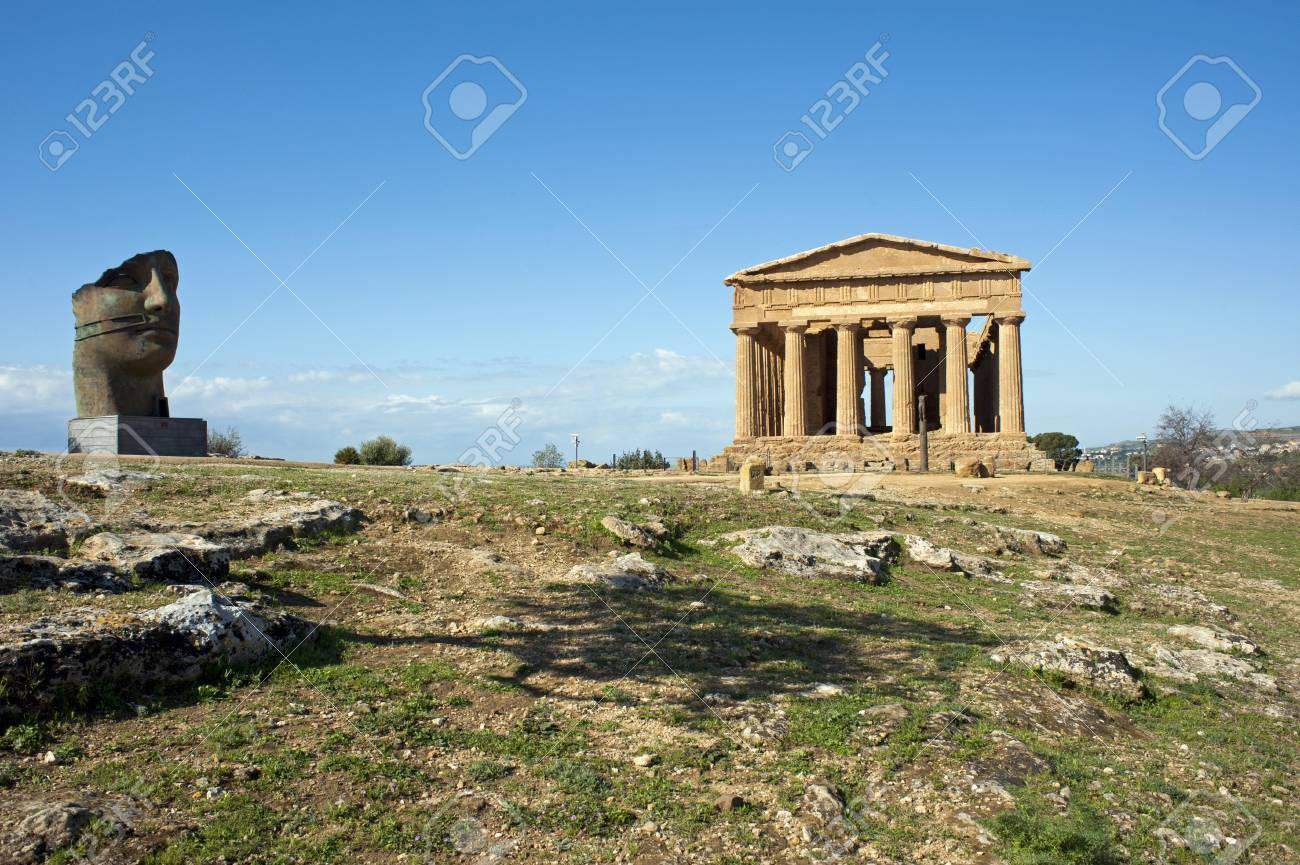 Hill with Temple of Concordia and statue, Valley of Temples, Sicily Stock Photo - 9347298