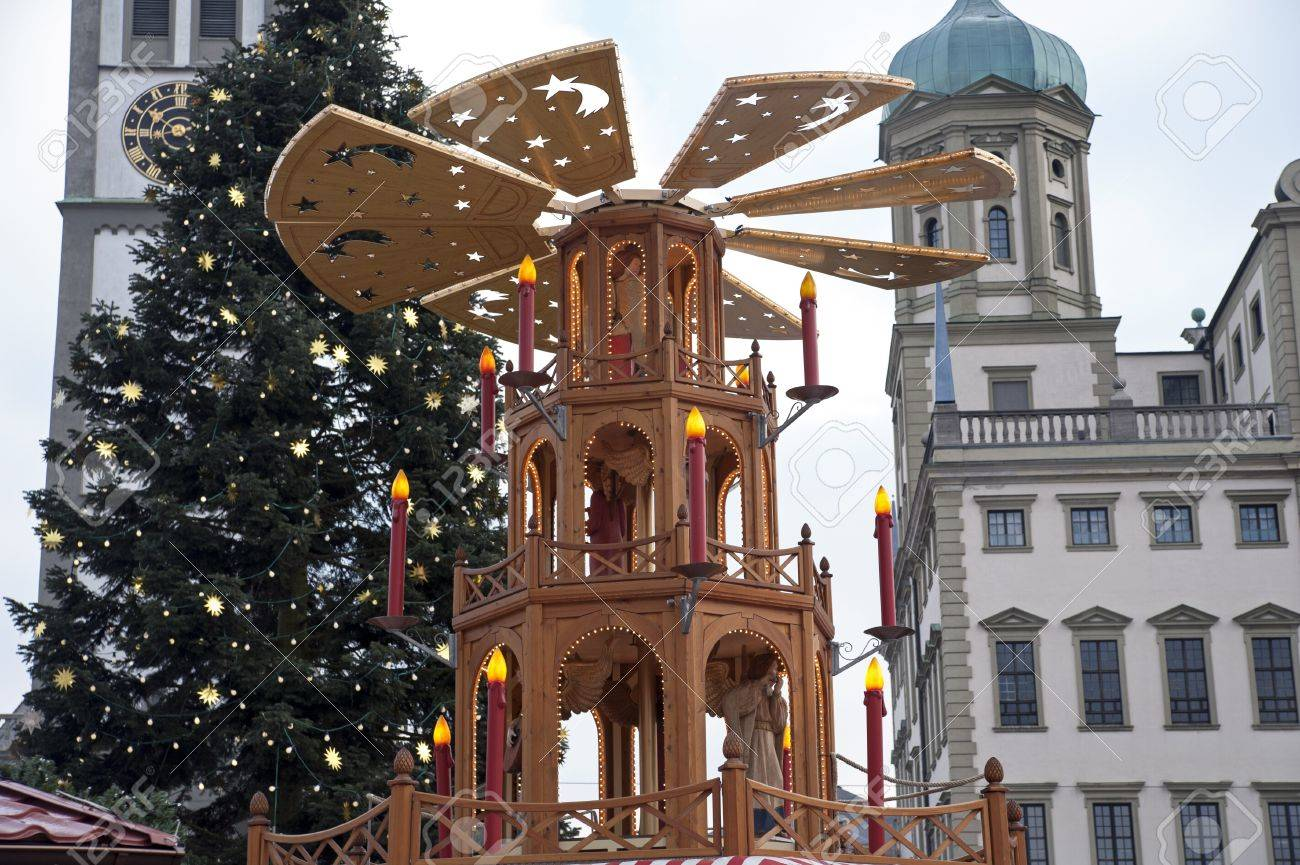 Christmas Pyramid.Spinning Christmas Pyramid For Christmas Market In Erfurt With