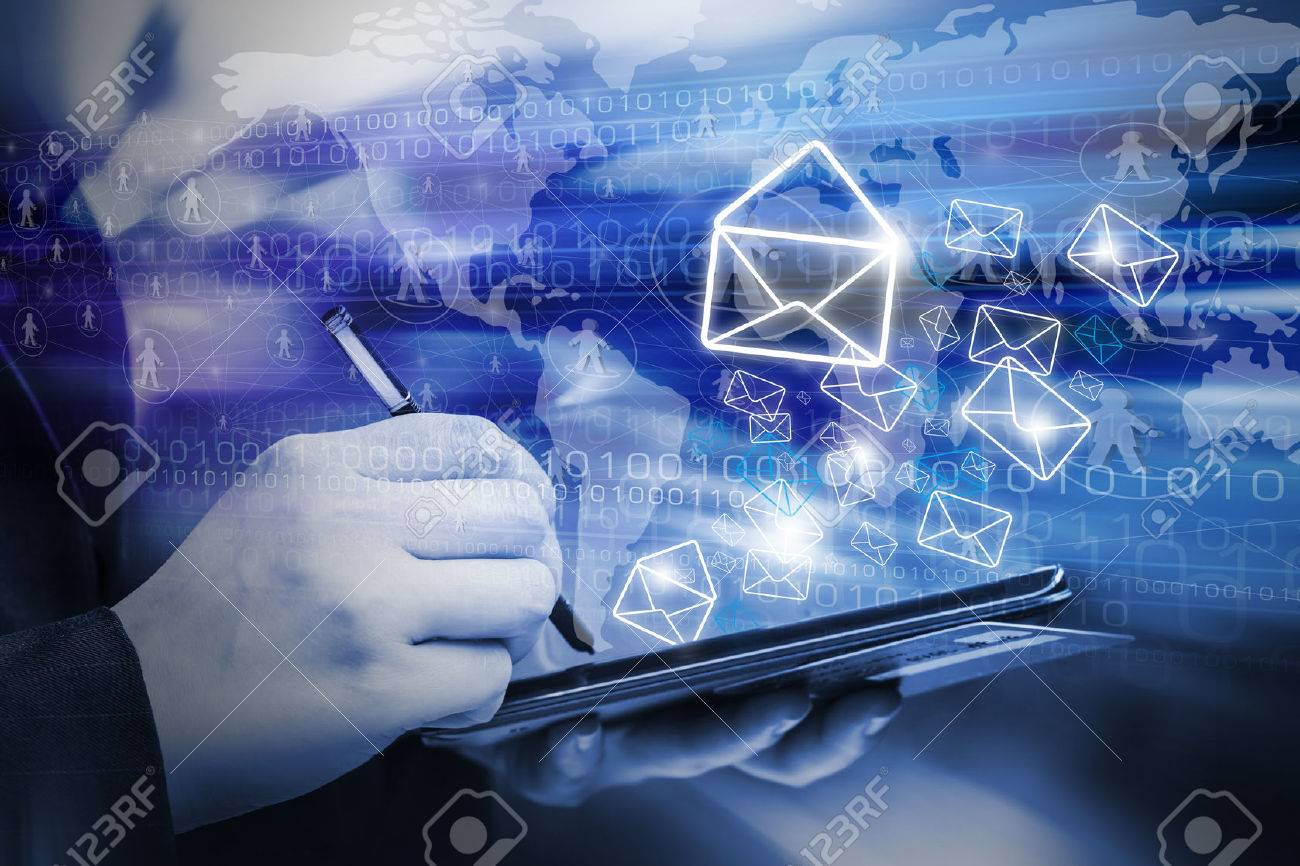 Business woman are sending email marketing by using digital tablet - 40223205