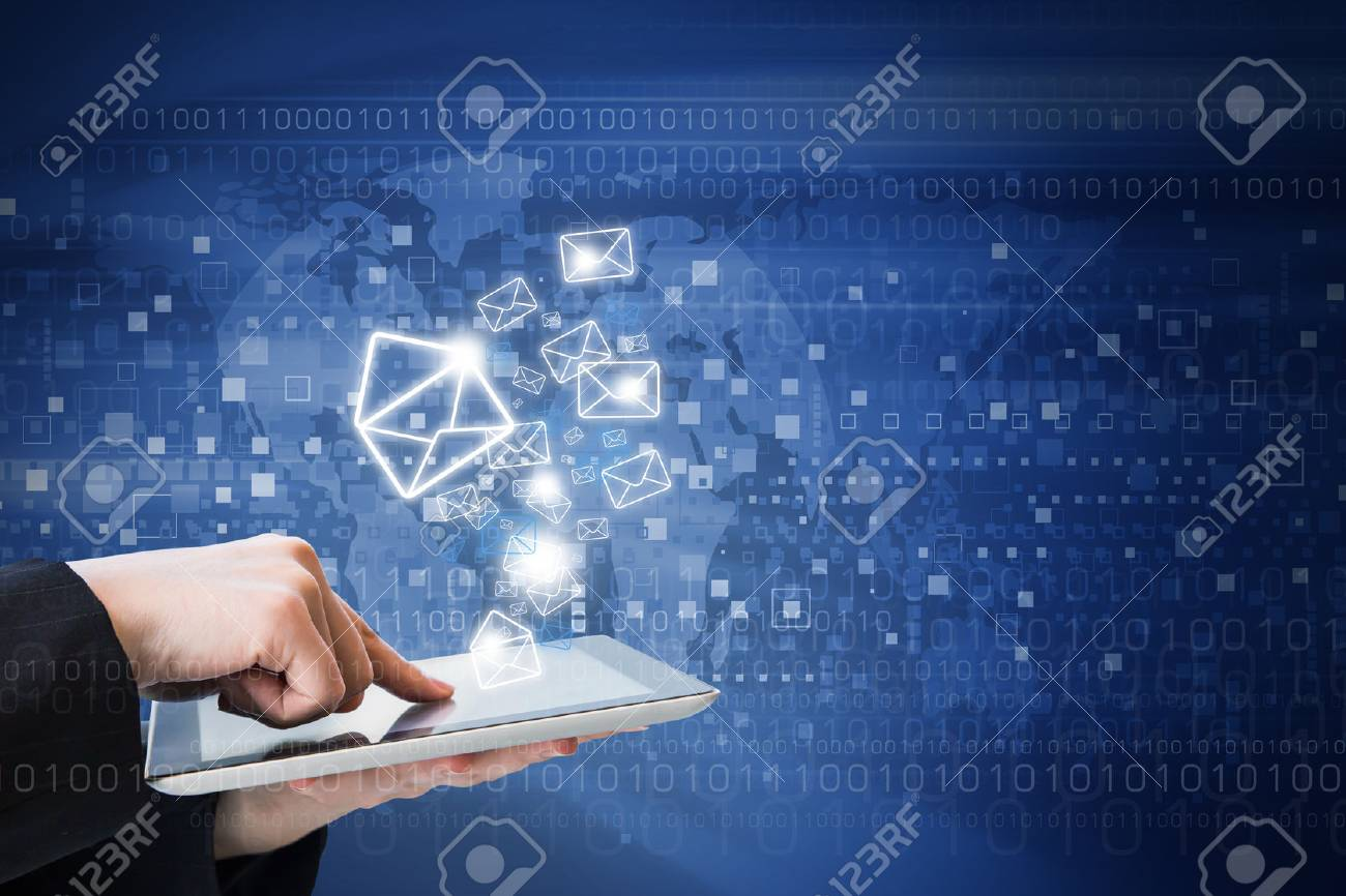 Business woman are sending email marketing by digital tablet - 44845425