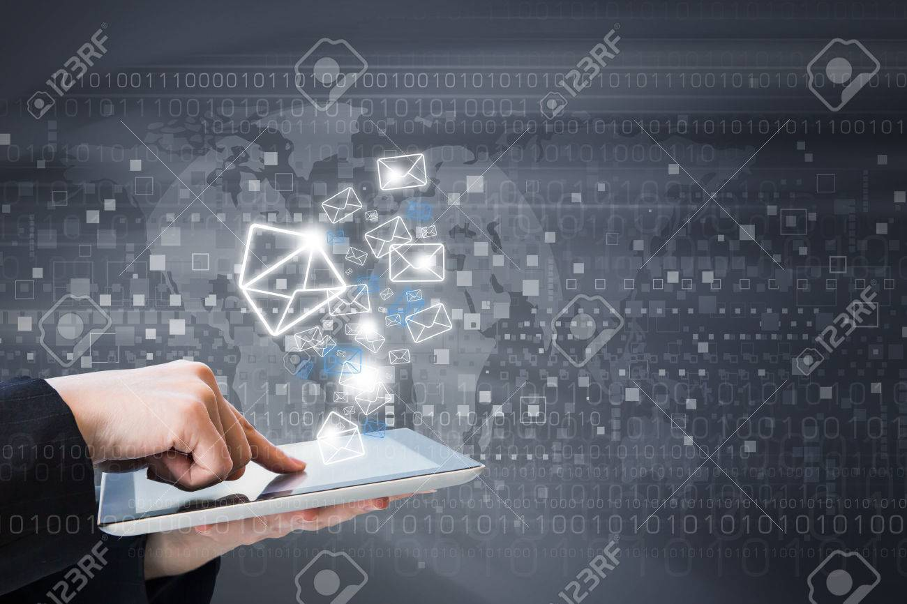 Business woman are sending email marketing by digital tablet - 44845496