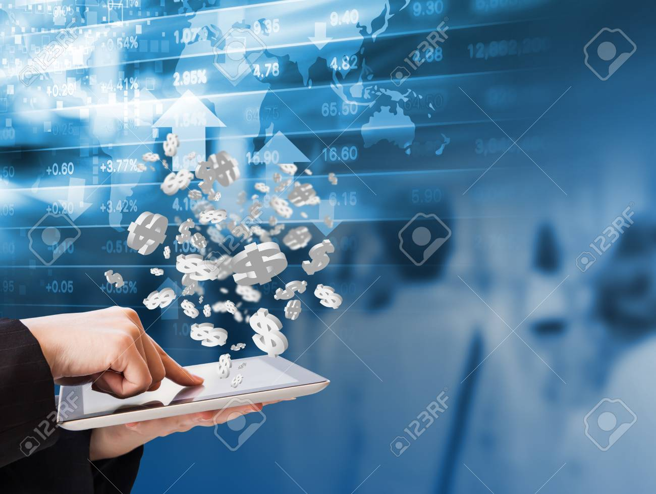 Business woman are checking stock market graph by using digital tablet - 52489179