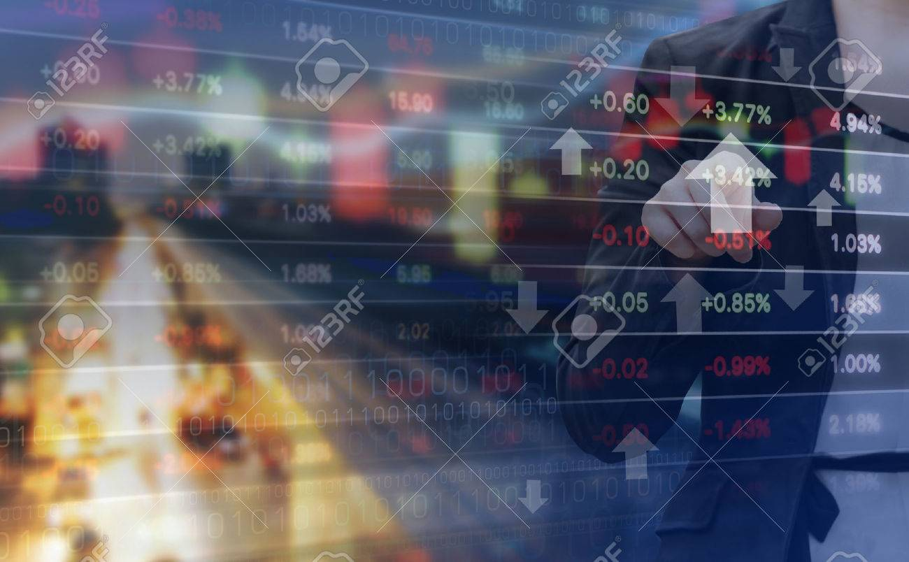 Double exposure of business woman and stock market graph - 53235114