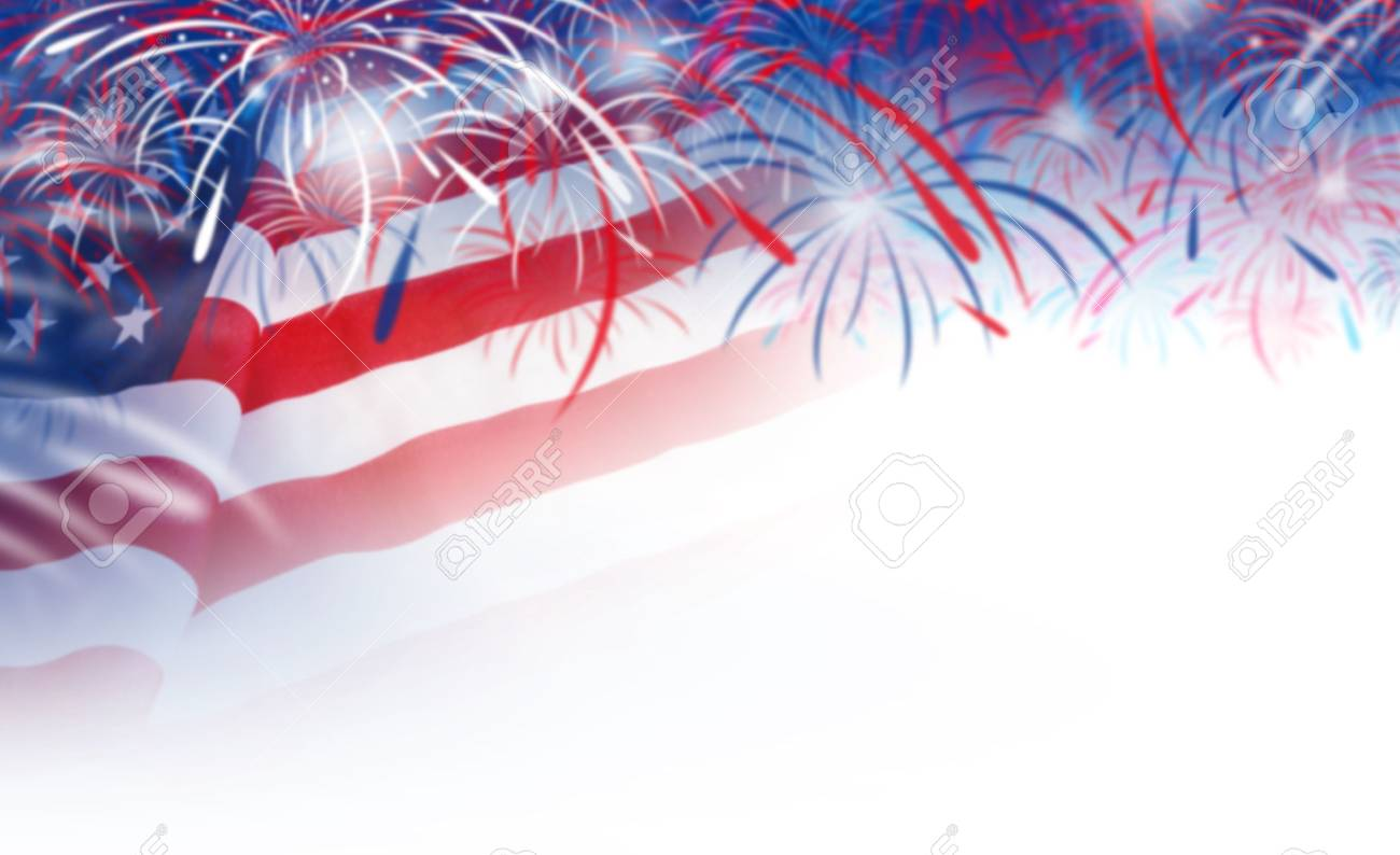 Abstract blurred background of USA flag and fireworks - 57905054