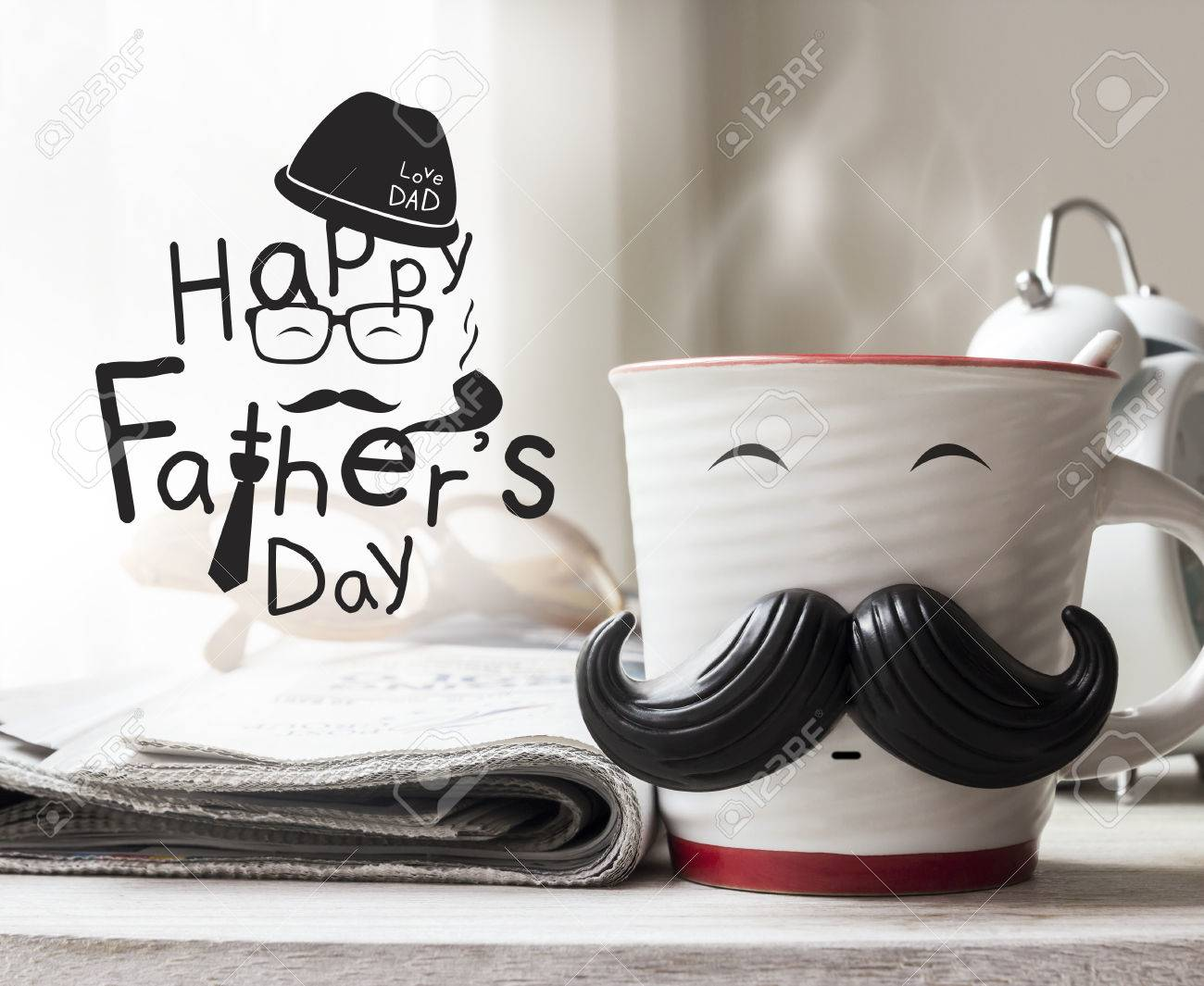 Cup with mustache on wooden table for fathers day concept - 57905067