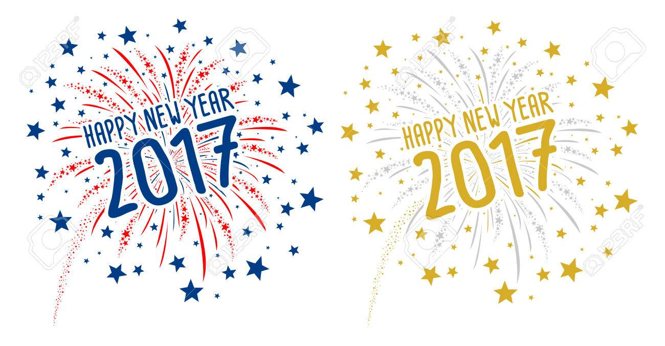 Firework with Happy new year 2017 on white background - 64540102