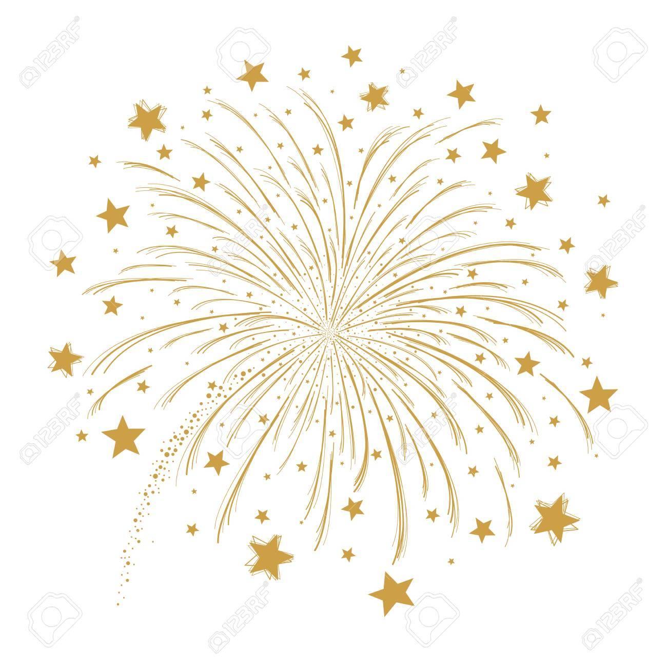 Feuerwerk mit Stern auf weißem ... | Stock-Vektor | Colourbox