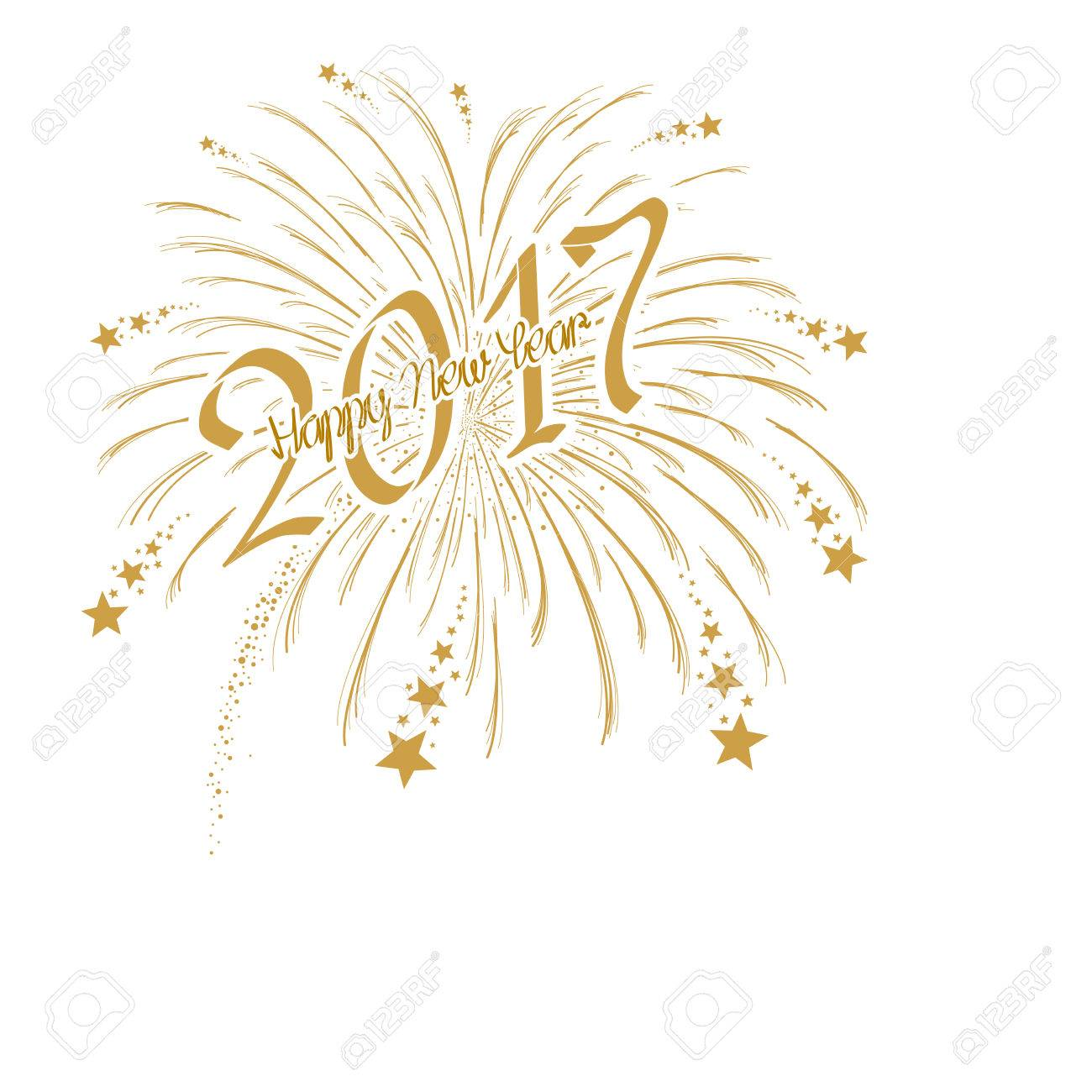 vector vector gold firework with happy new year 2017 on white background