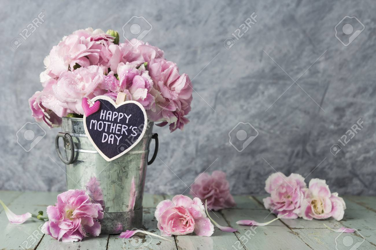 Pink Carnation Flowers In Zinc Bucket With Happy Mothers Day Stock
