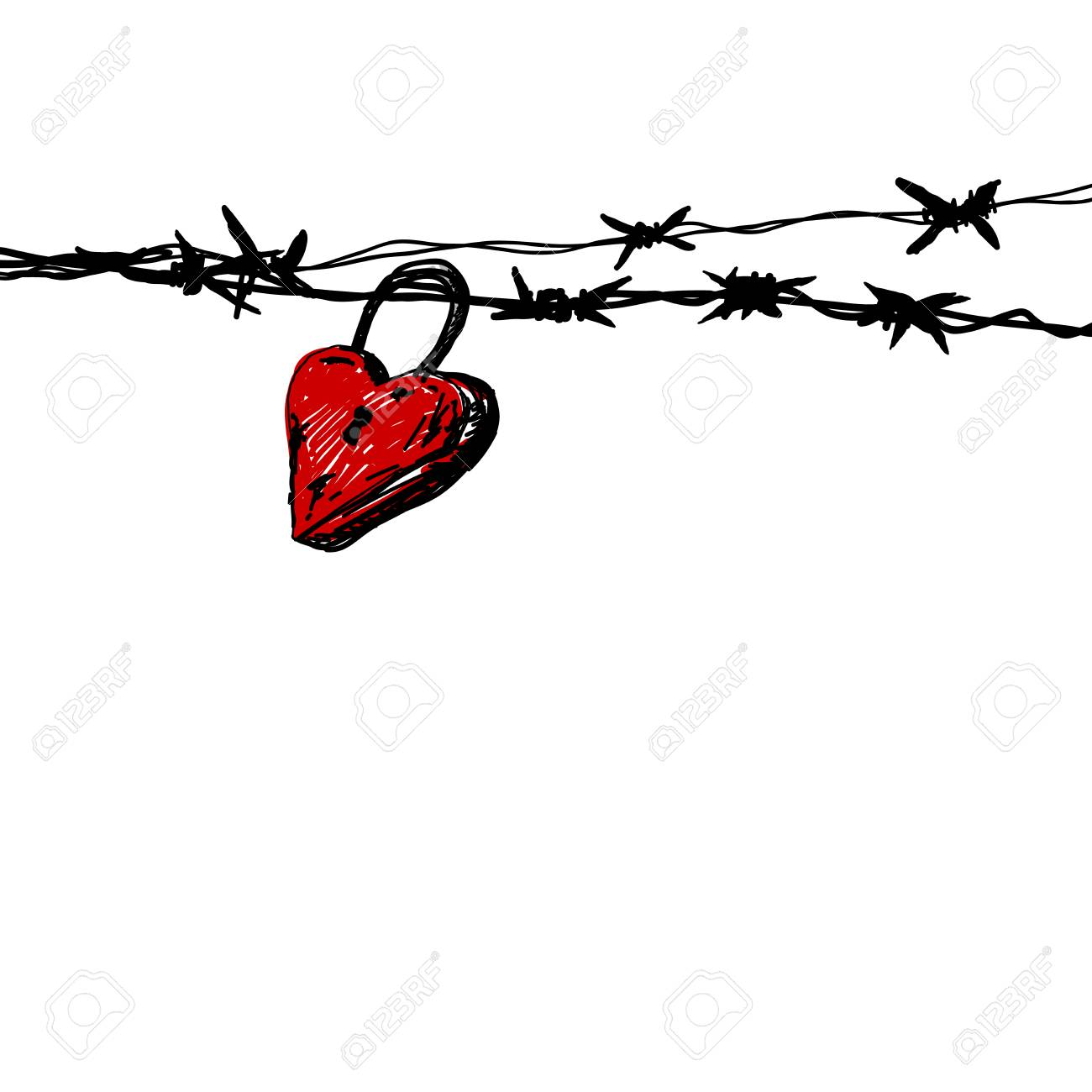 Funky Barbed Wire Heart Drawings Inspiration - Electrical Diagram ...