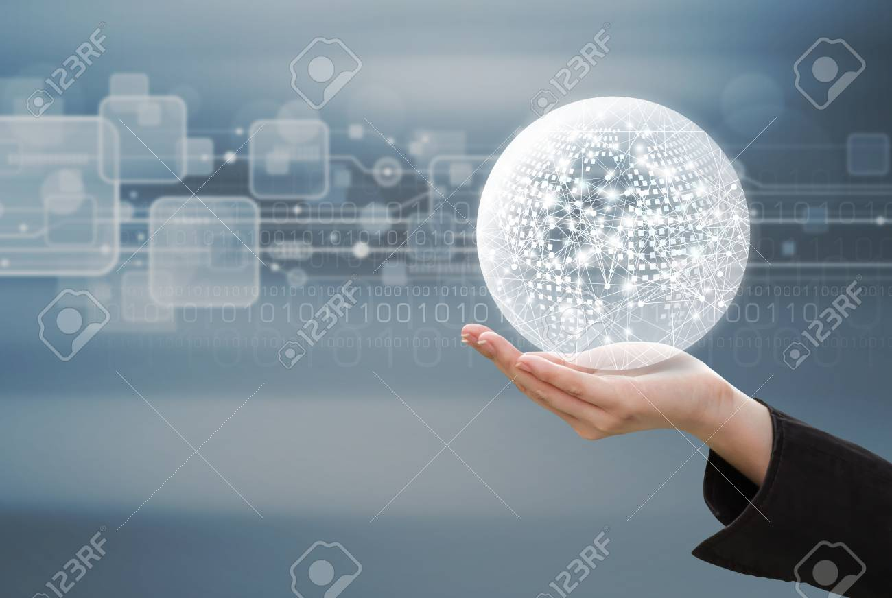 Business concept of business woman hand holding global network design on technology background - 79345017