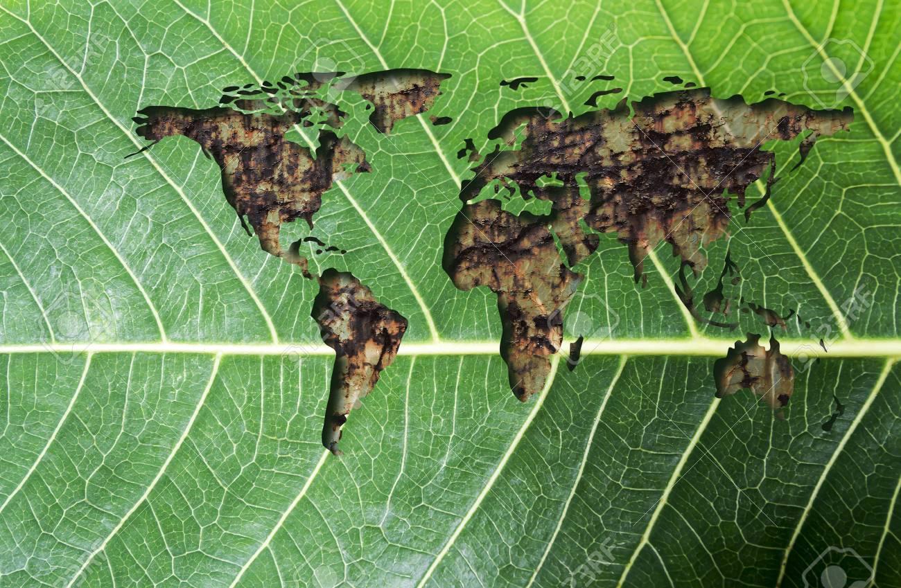 Grüner Rost denken sie grün und ökologiekonzept der weltkarte mit rost auf