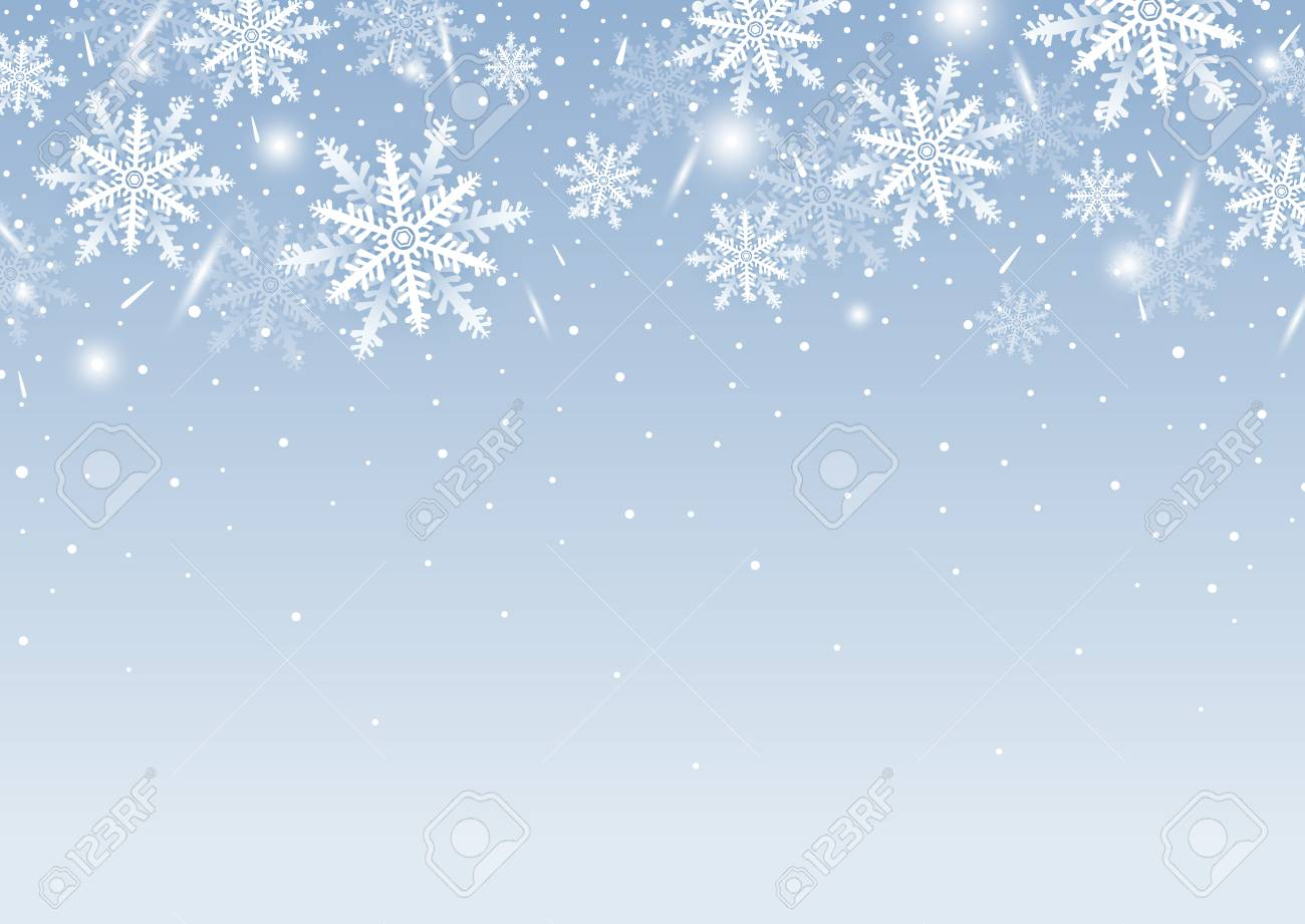 Christmas Background Design.Christmas Background Design Of White Snowflake And Snow With
