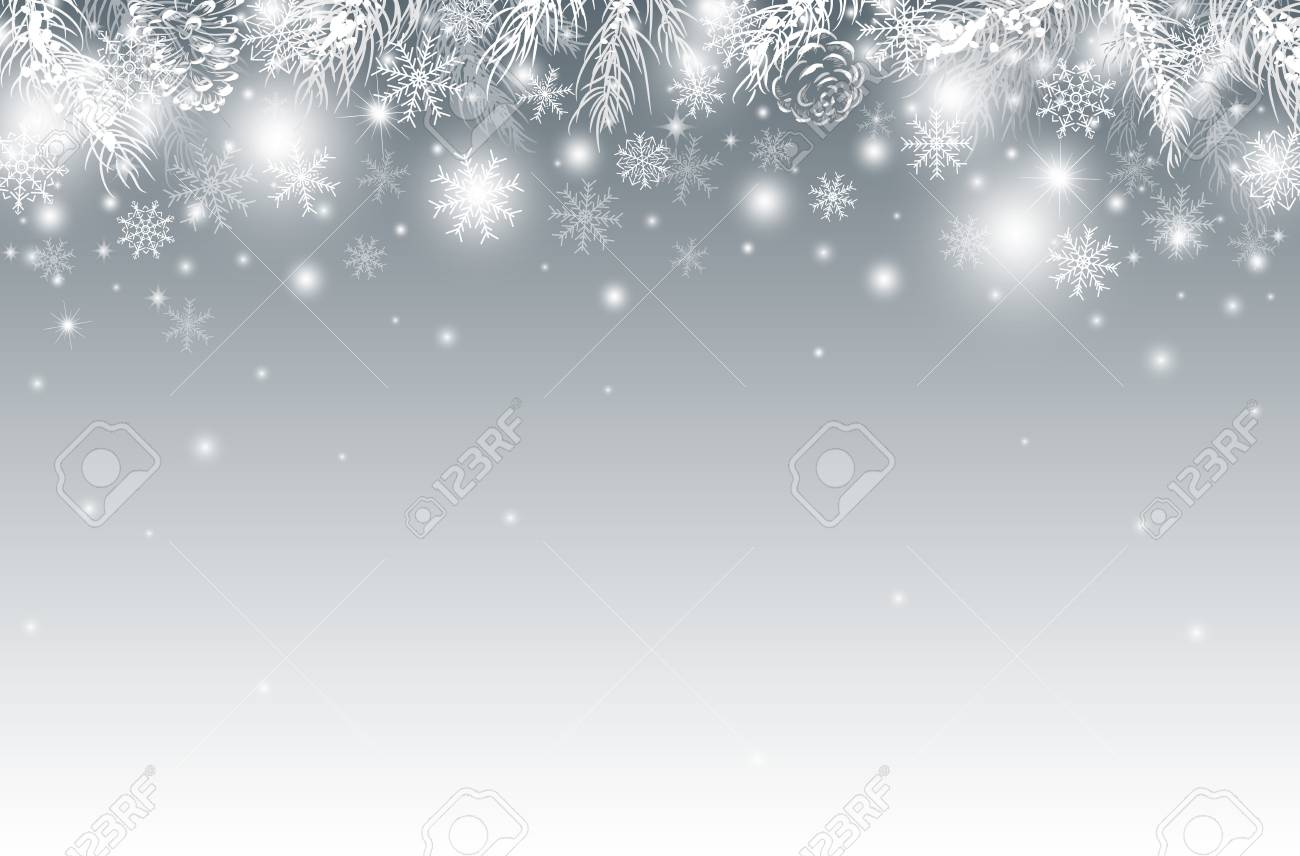 Christmas Background Design.Christmas Background Design Of Pine Leaves In The Winter Vector