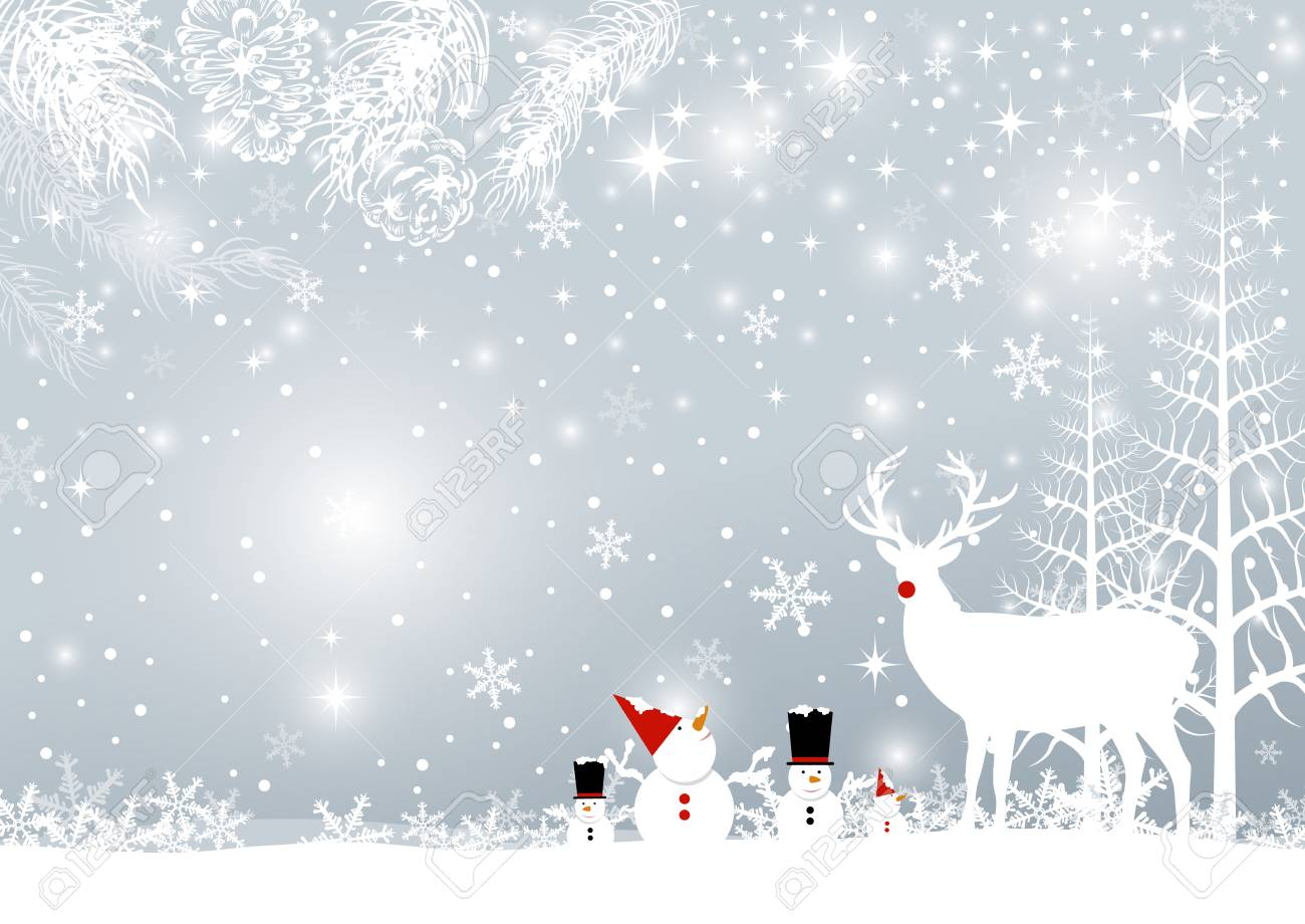 Christmas Background Design.Christmas Background Design Of Reindeer And Pine Leaves With