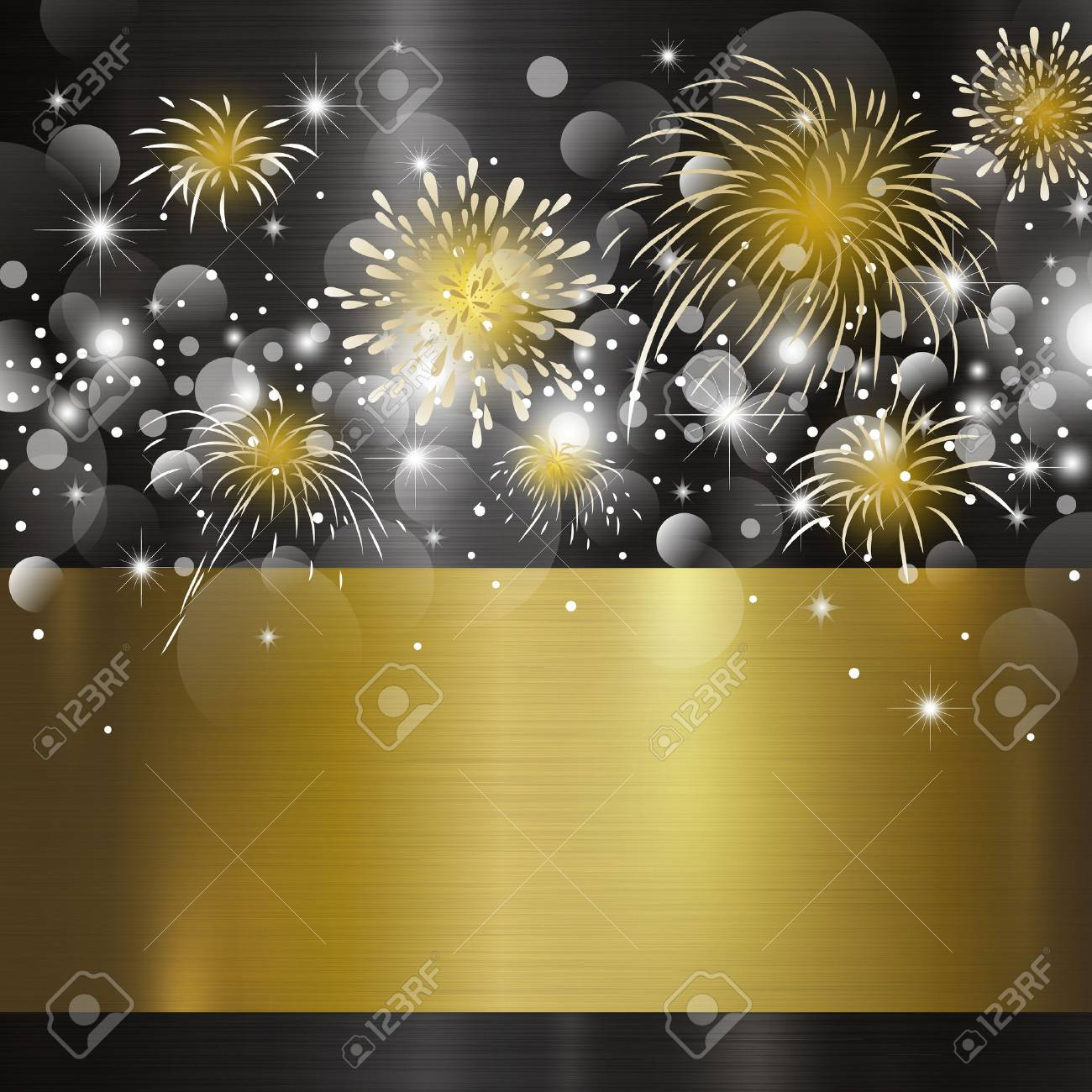 Happy new year design on metal background vector illustration - 90065243