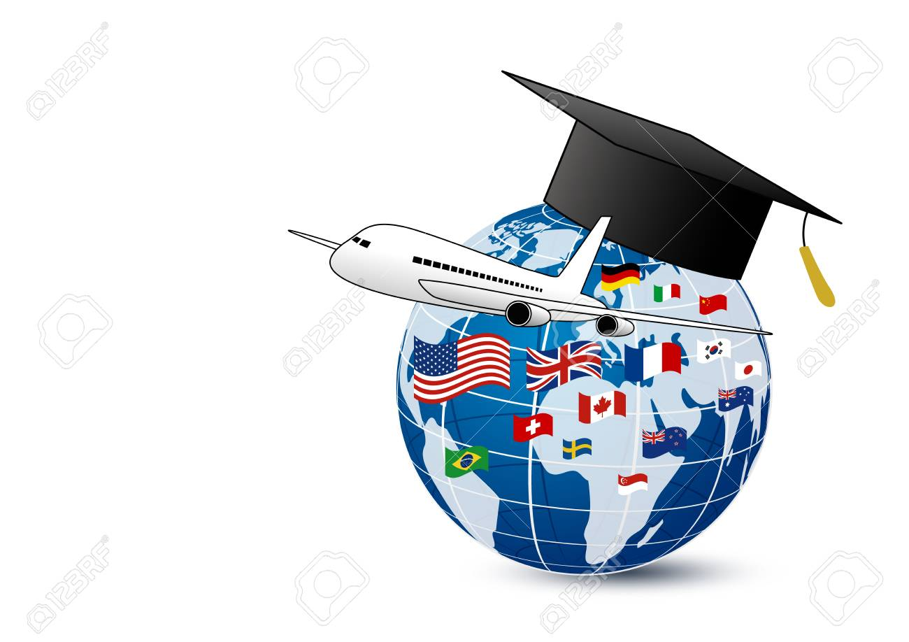 Study abroad concept design of airplane and world education with national flag on white background vector illustration - 91263332