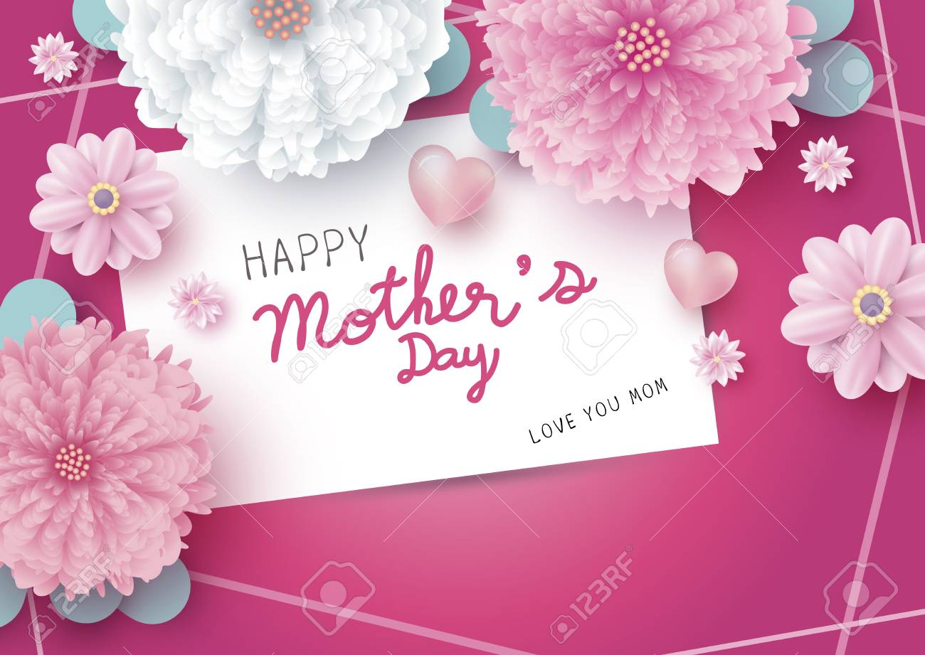Happy Mothers Day Message On White Paper Card And Flowers With