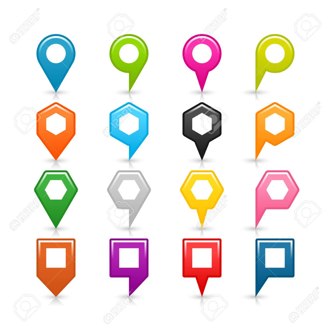 16 map pins location icon with reflection shadow and white empty