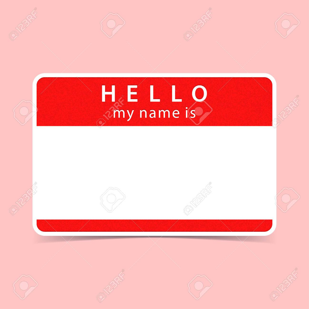 Color Blank Name Tag Sticker Hello My Name Is Rounded Rectangular