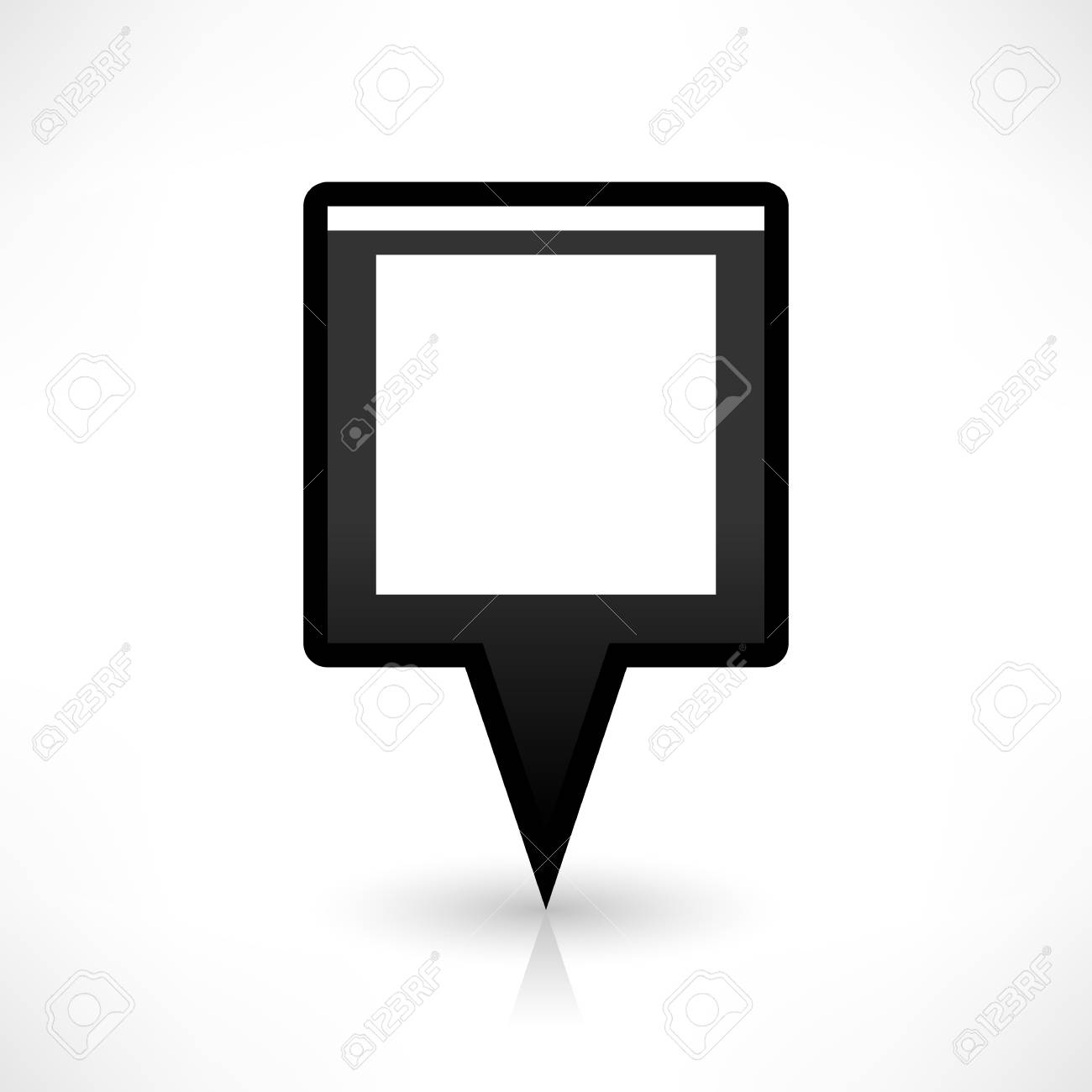 Map pin location sign rounded square icon in flat style  Simple
